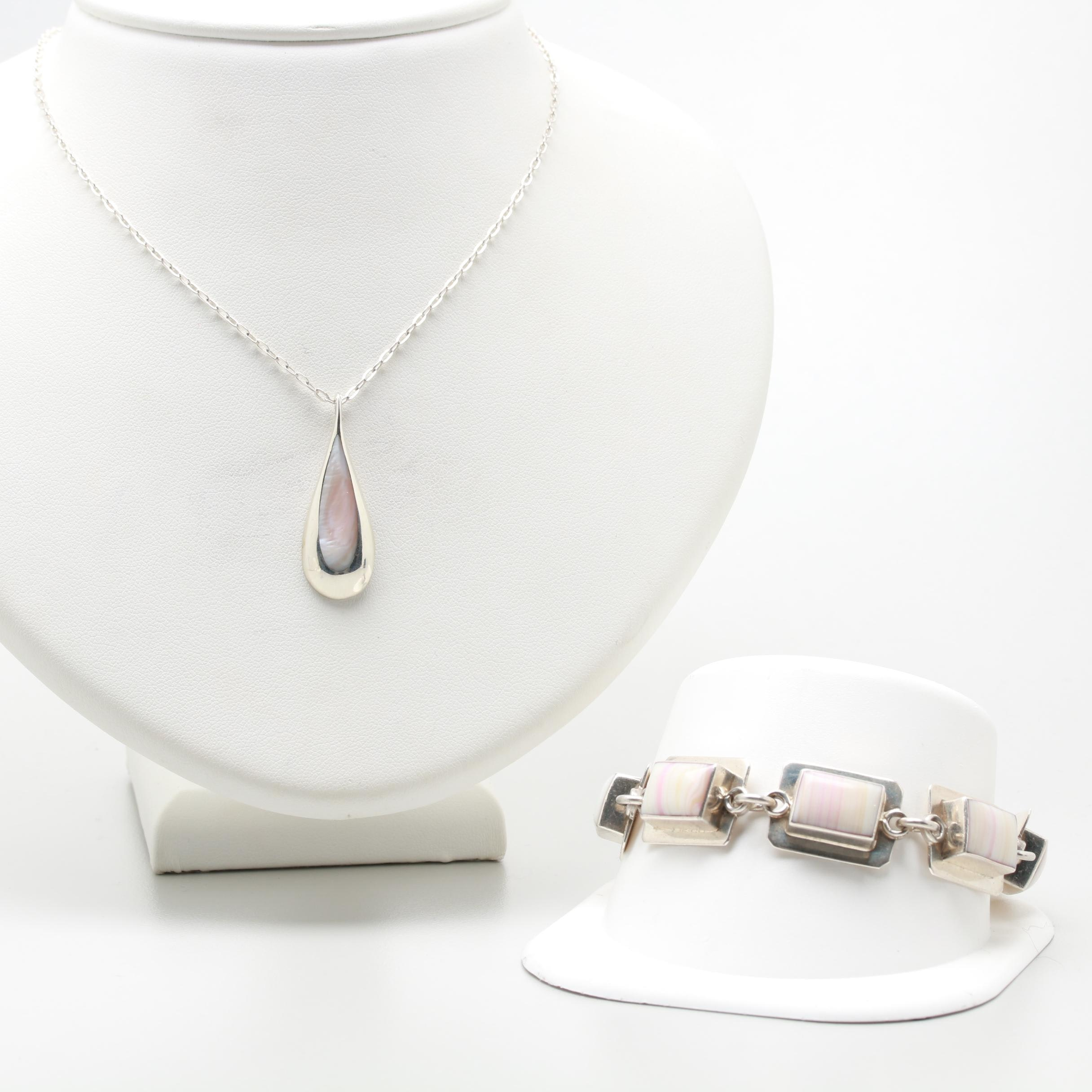 Kabana Sterling Glass and Mother of Pearl Necklace and Bracelet