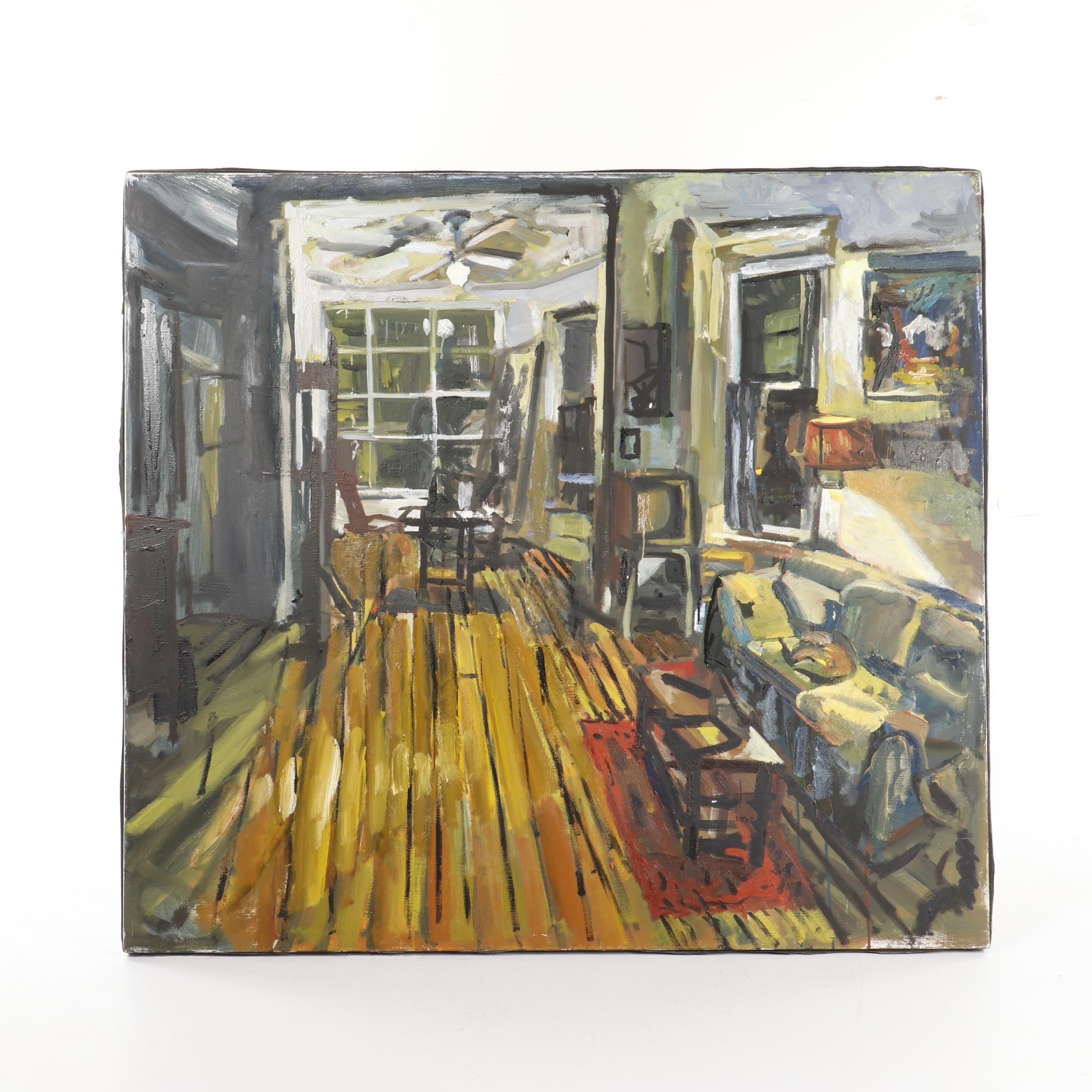 Oil Painting of Interior Scene