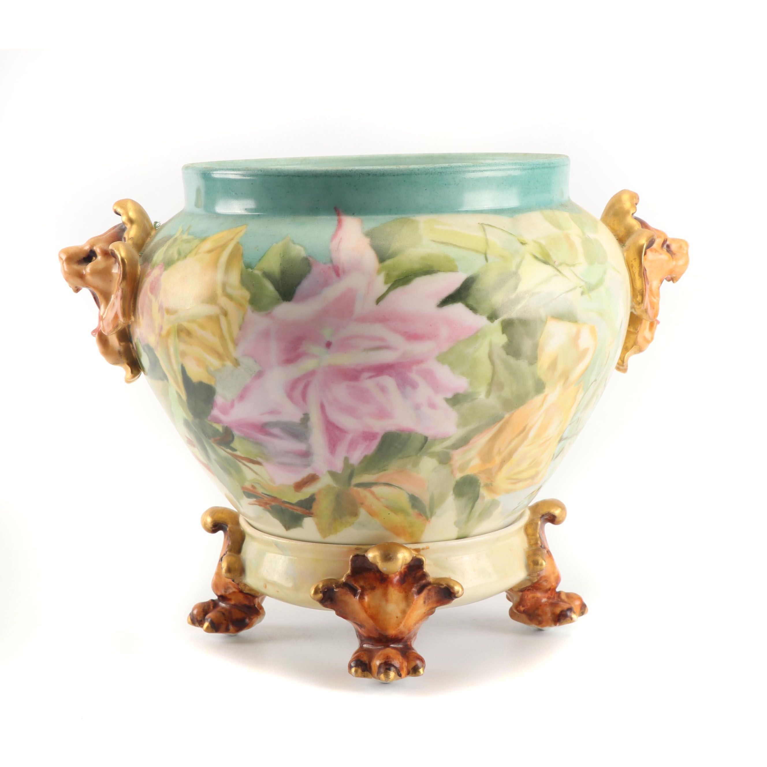 Delinieres & Co. Limoges Hand-Painted Jardiniere and Footed Stand