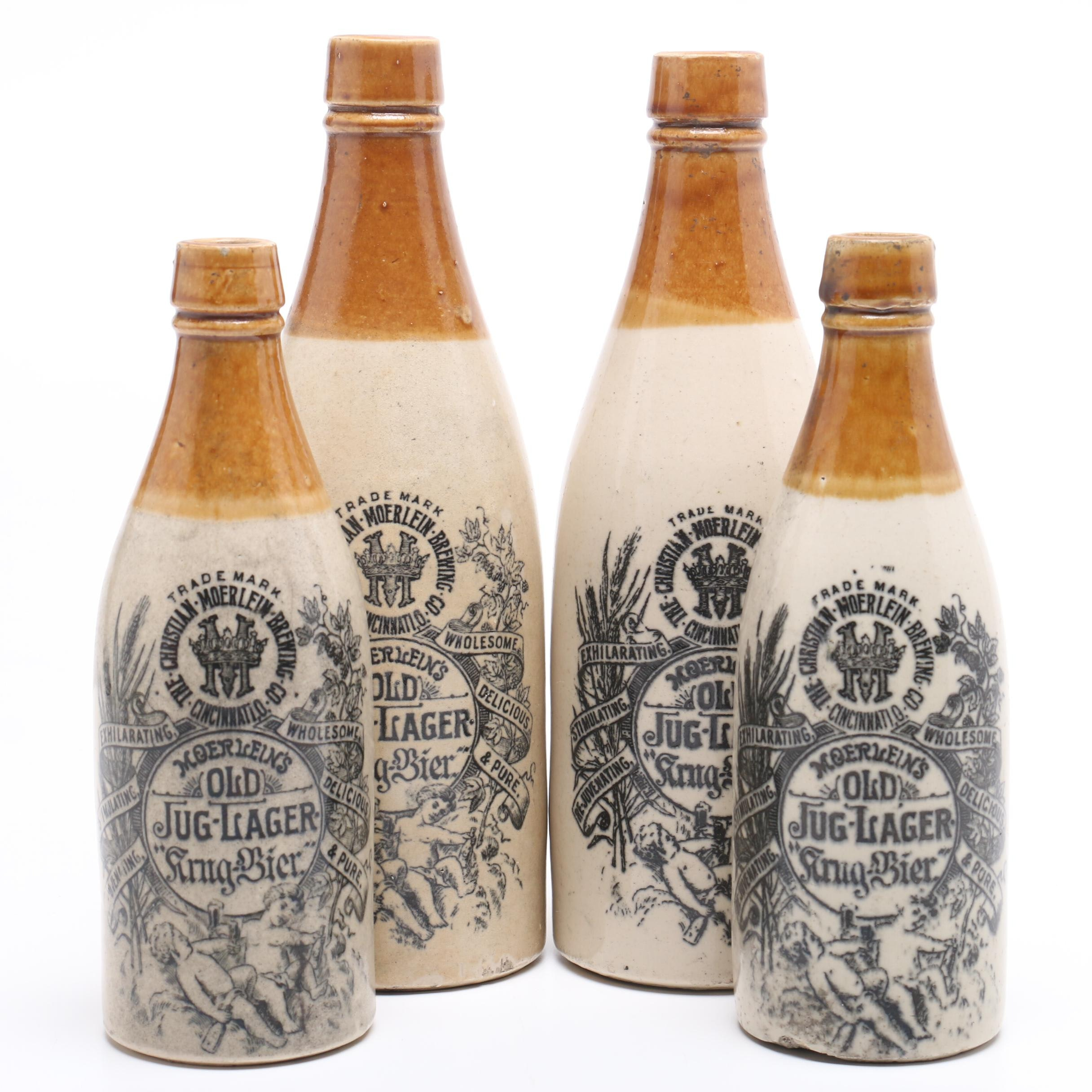 Four Cincinnati Antique Christian Moerlein Stoneware Crock Beer Bottles