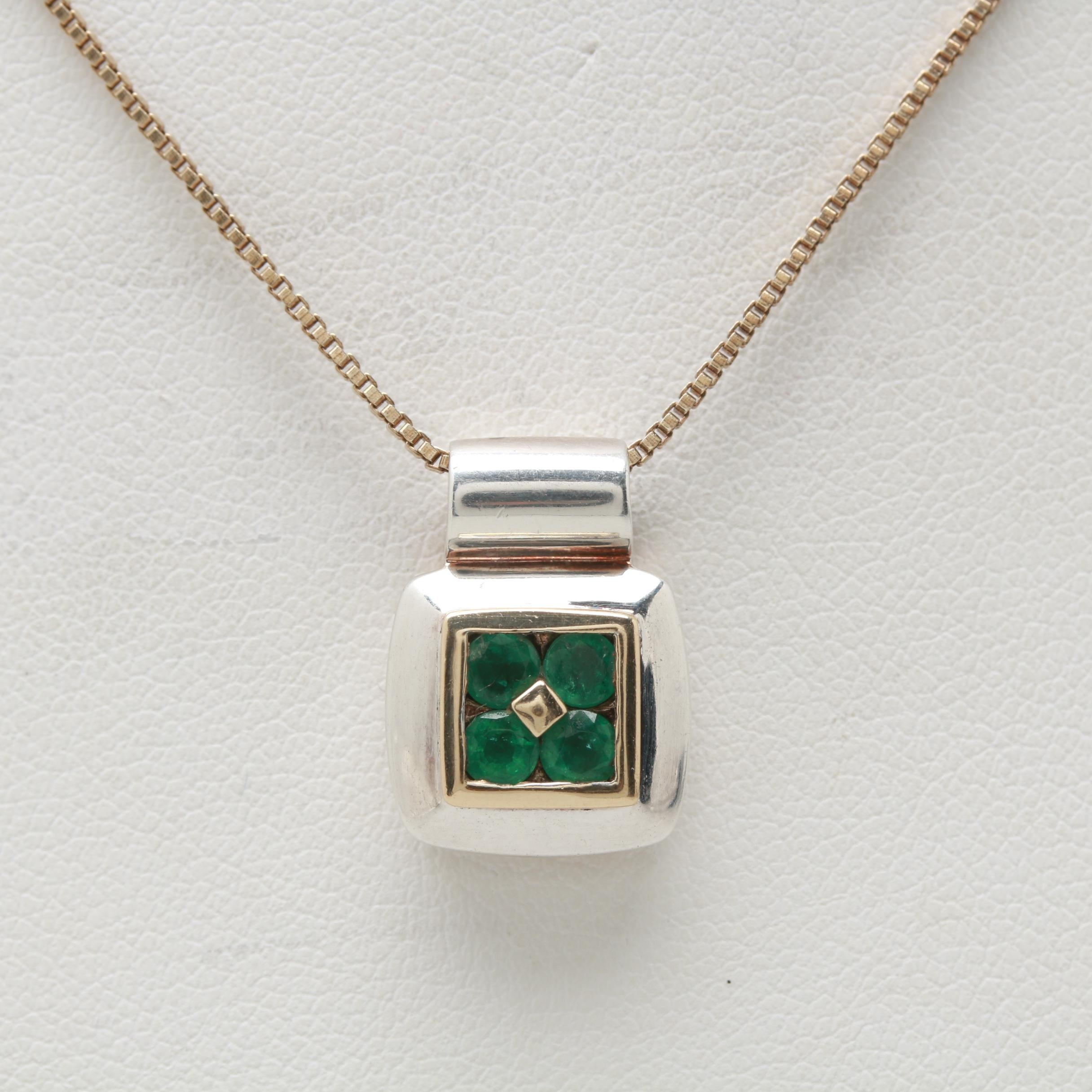 Sterling Silver Emerald Necklace with 14K Yellow Gold Accent