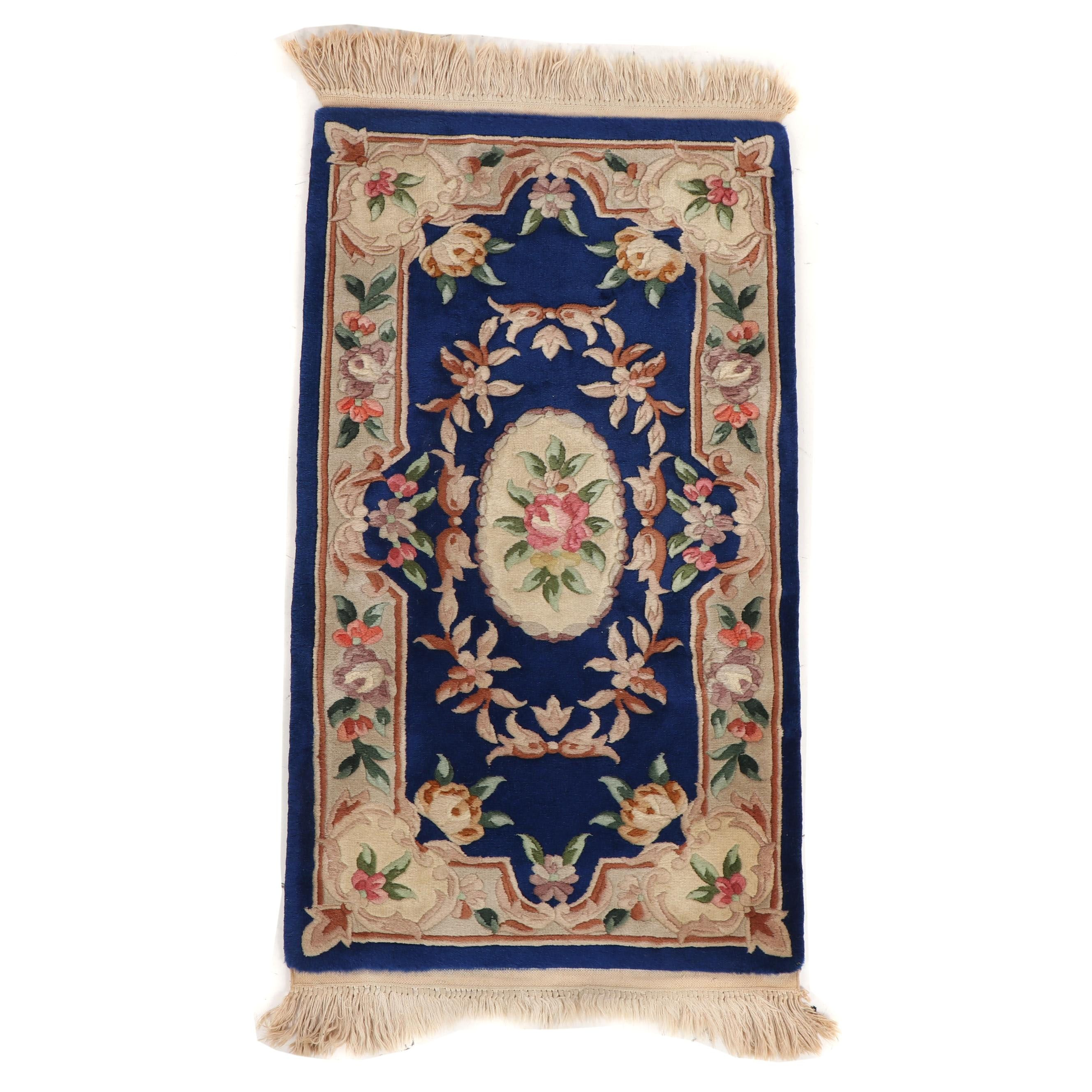 Hand-Knotted Chinese Aubusson Style Carved Wool Rug
