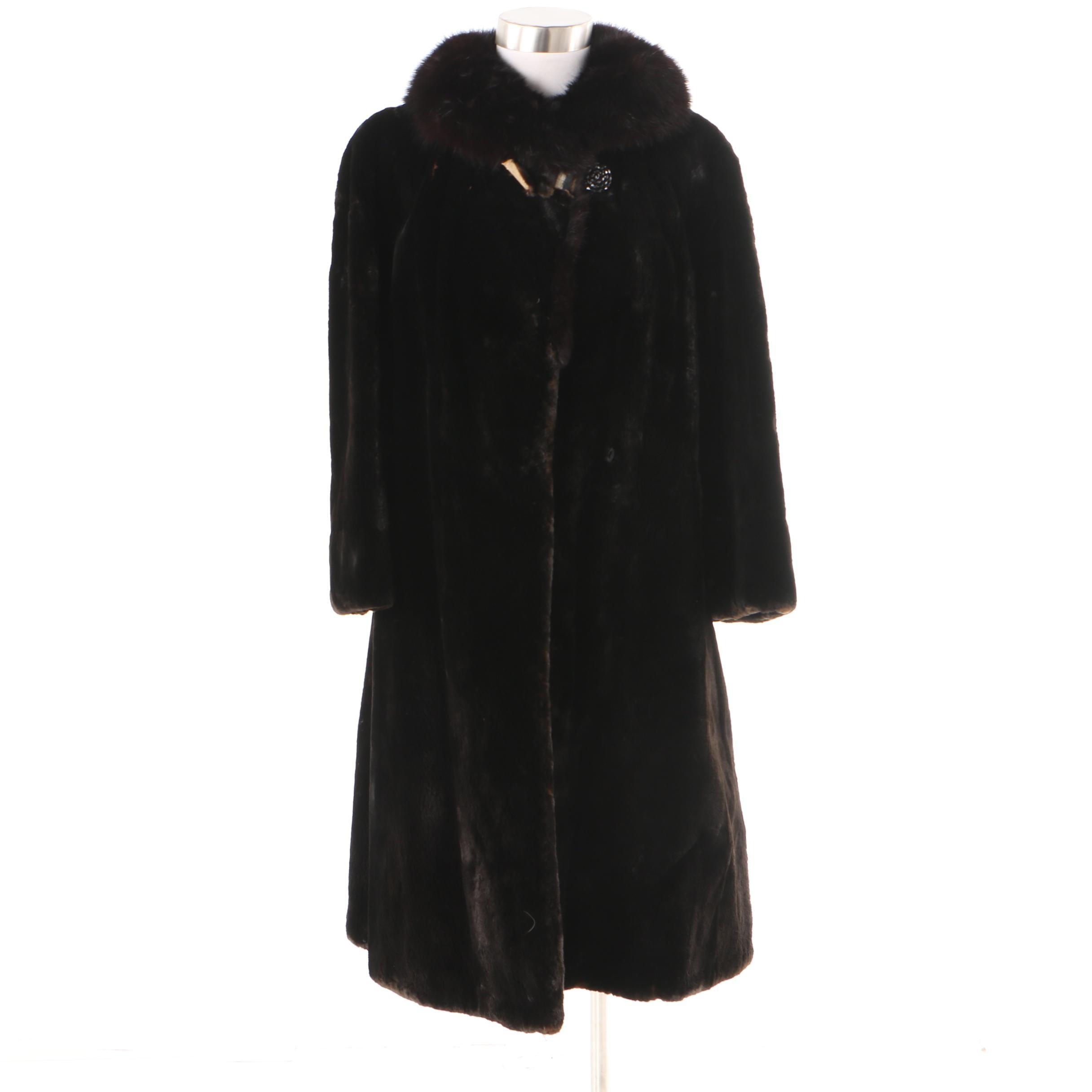 Vintage E.T. Edwards Furs Sheared Mink Fur Coat with Mink Fur Collar