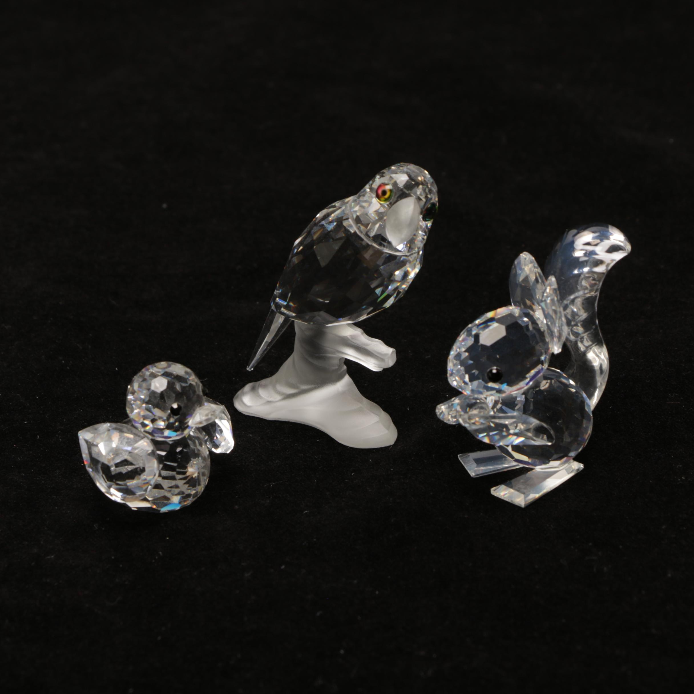 Swarovski Crystal Squirrel & Bird Miniature Figurines