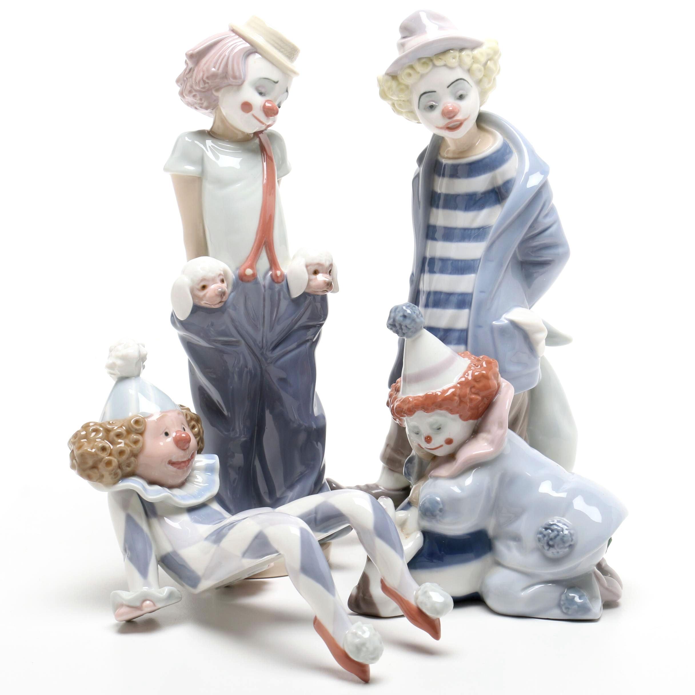 Four Lladró Clown Figurines