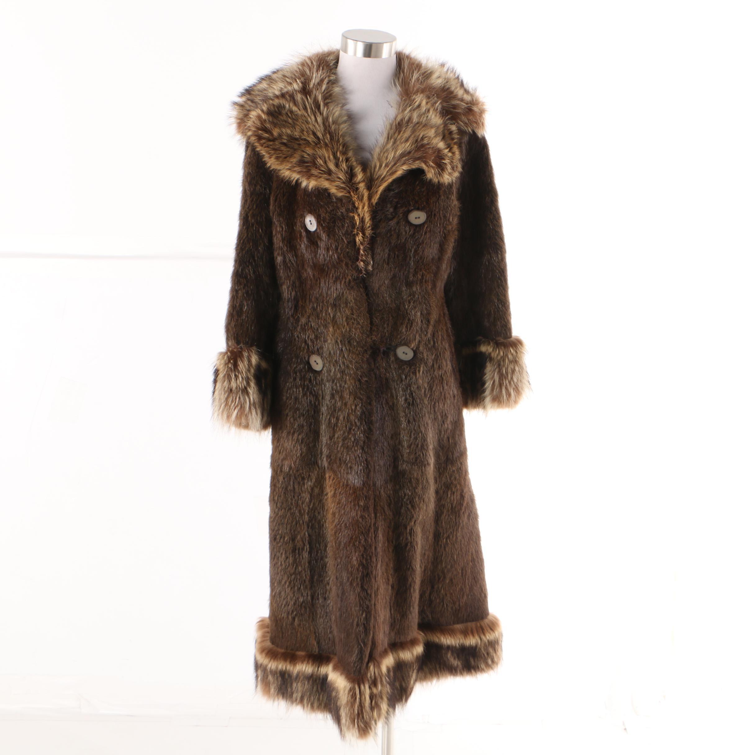 Women's Vintage Nutria Fur Double-Breasted Coat with Raccoon Fur Trim