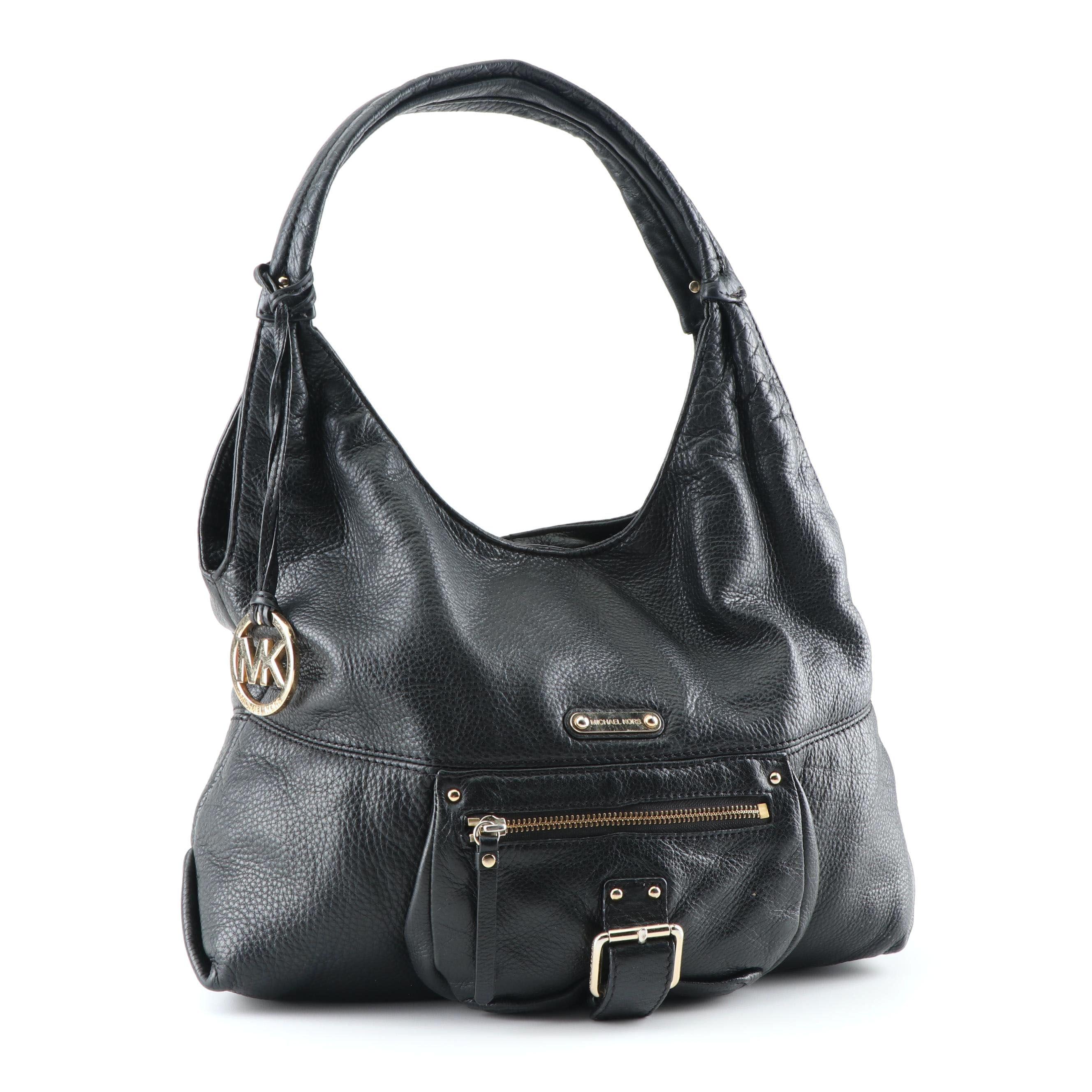 MICHAEL Michael Kors Black Pebbled Leather Hobo Bag