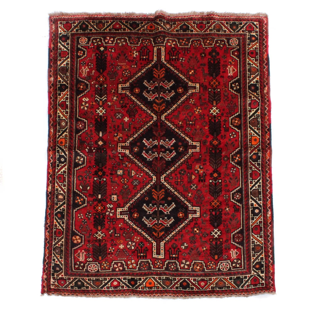 Hand-Knotted Persian Shiraz Rug