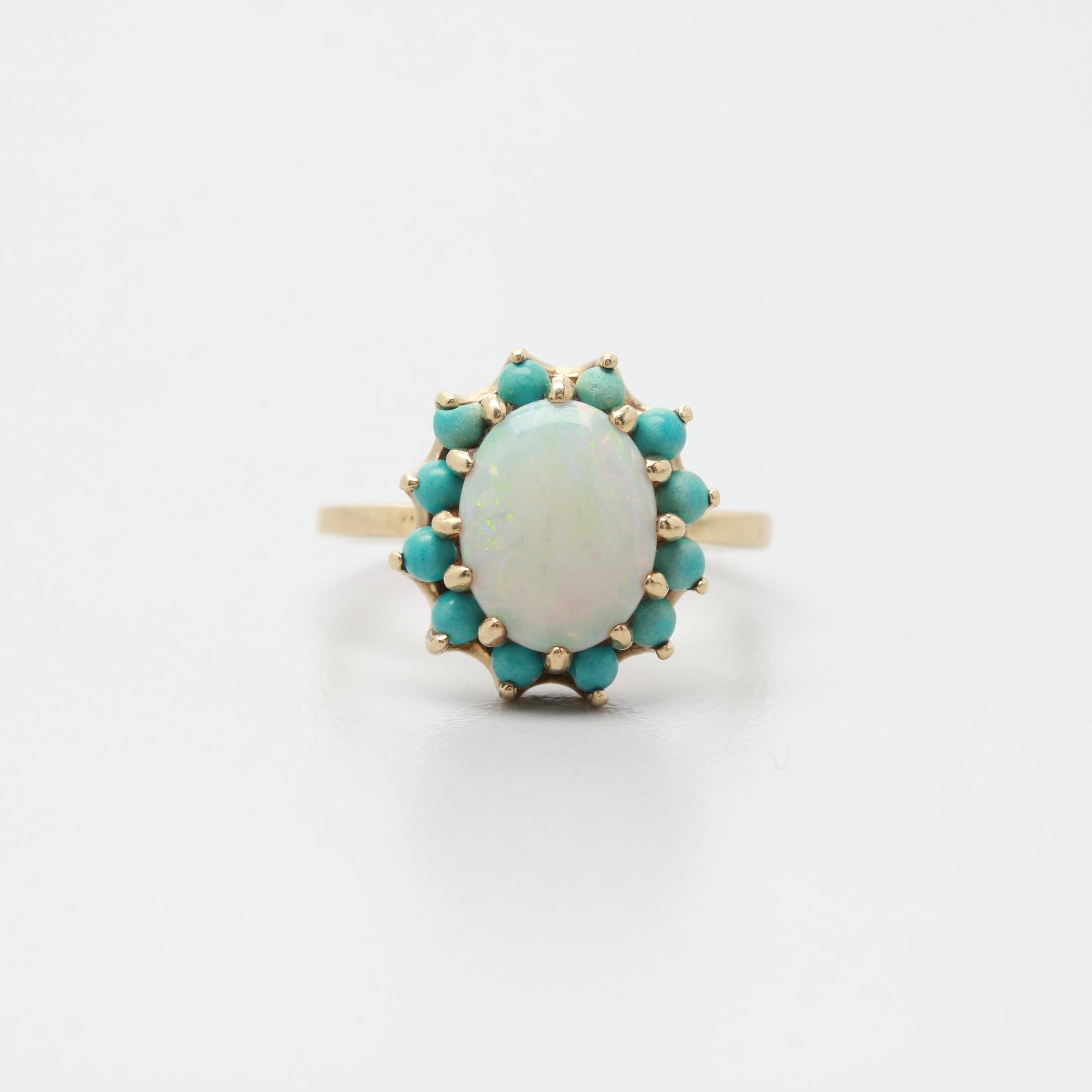 Vintage 10K Yellow Gold Opal and Imitation Turquoise Ring