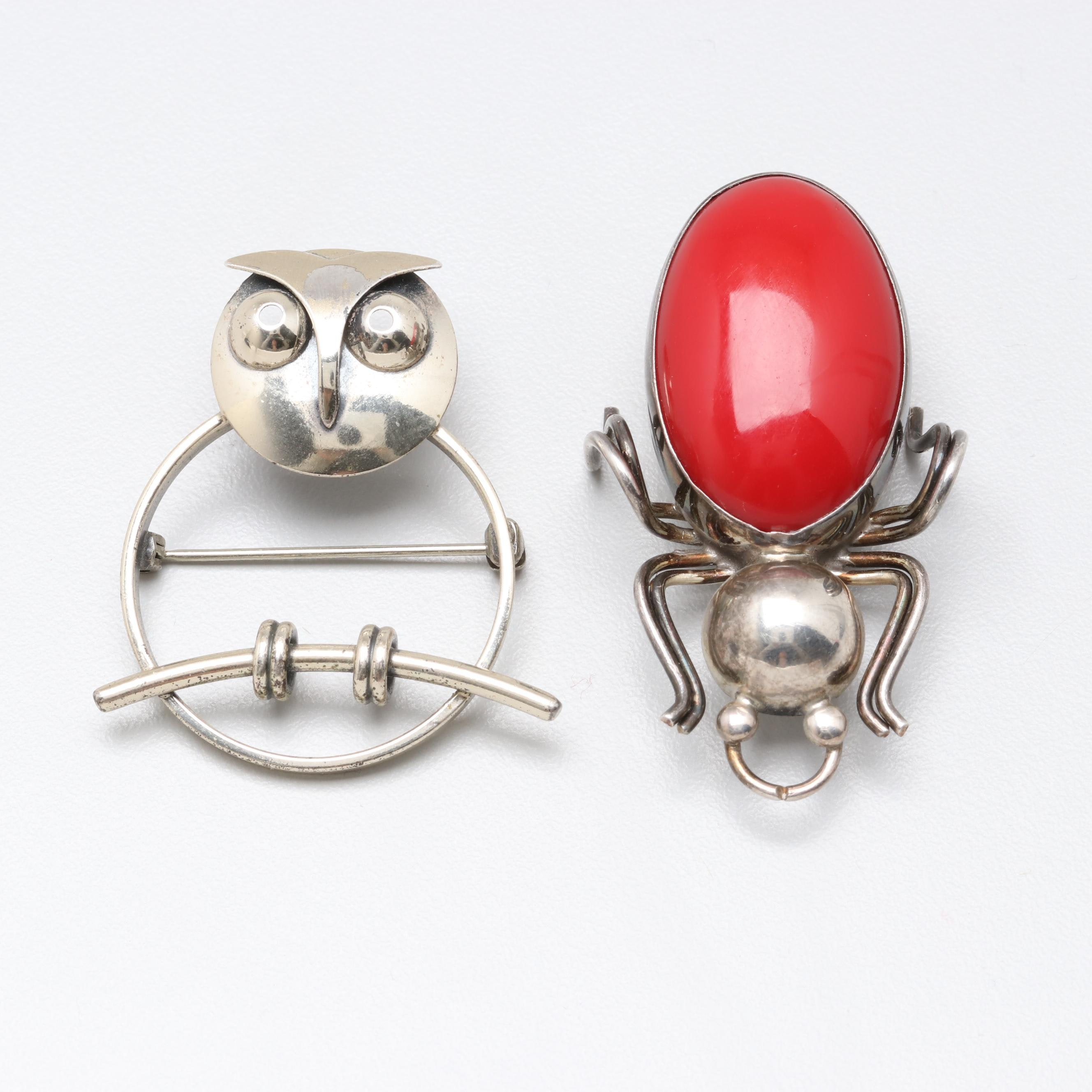 Mexican Sterling Silver Red Resin Bug Brooch With Owl Brooch
