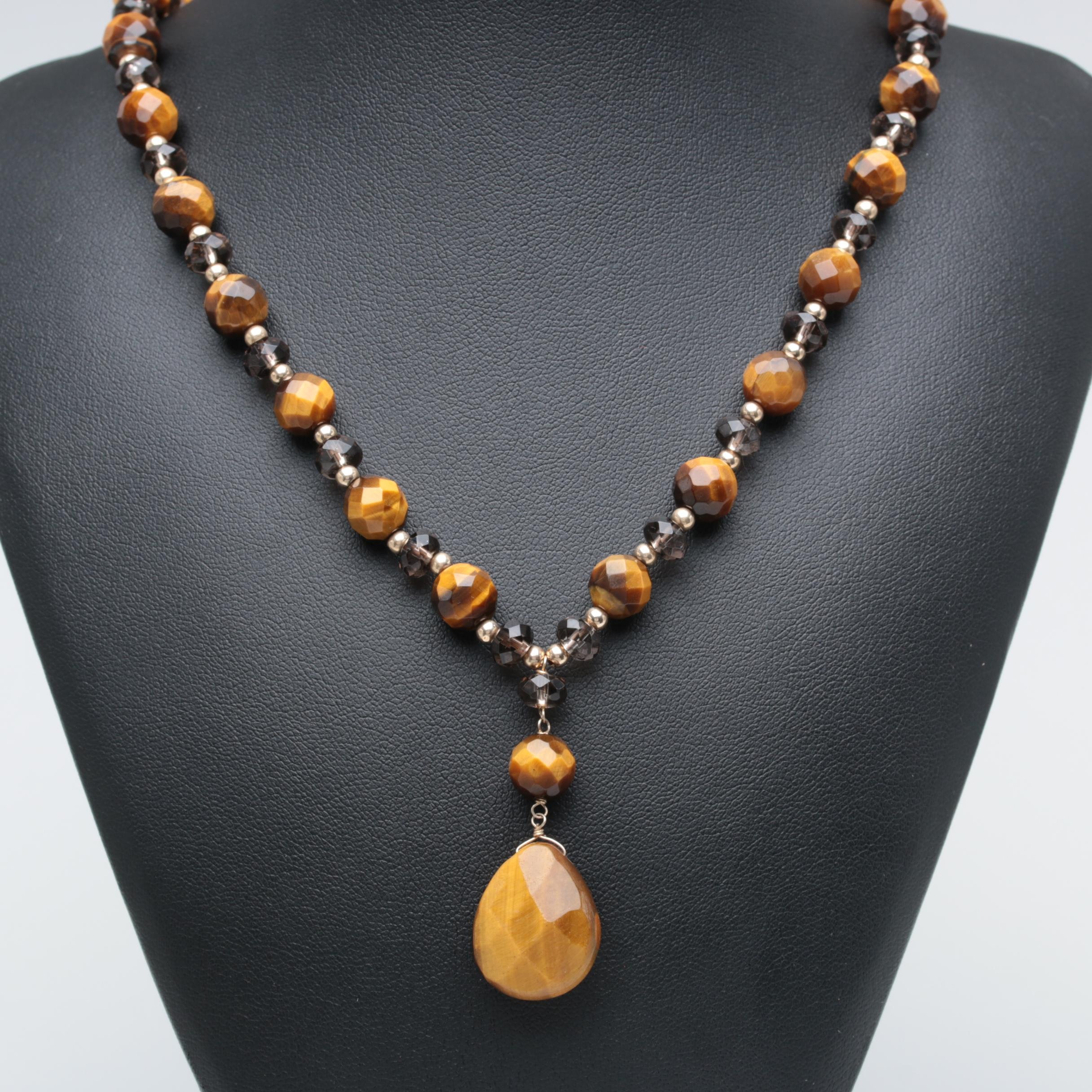 10K Yellow Gold Tiger's Eye and Smoky Quartz Necklace