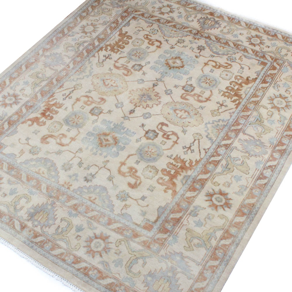 Hand-Knotted Indo-Turkish Oushak Room Size Rug
