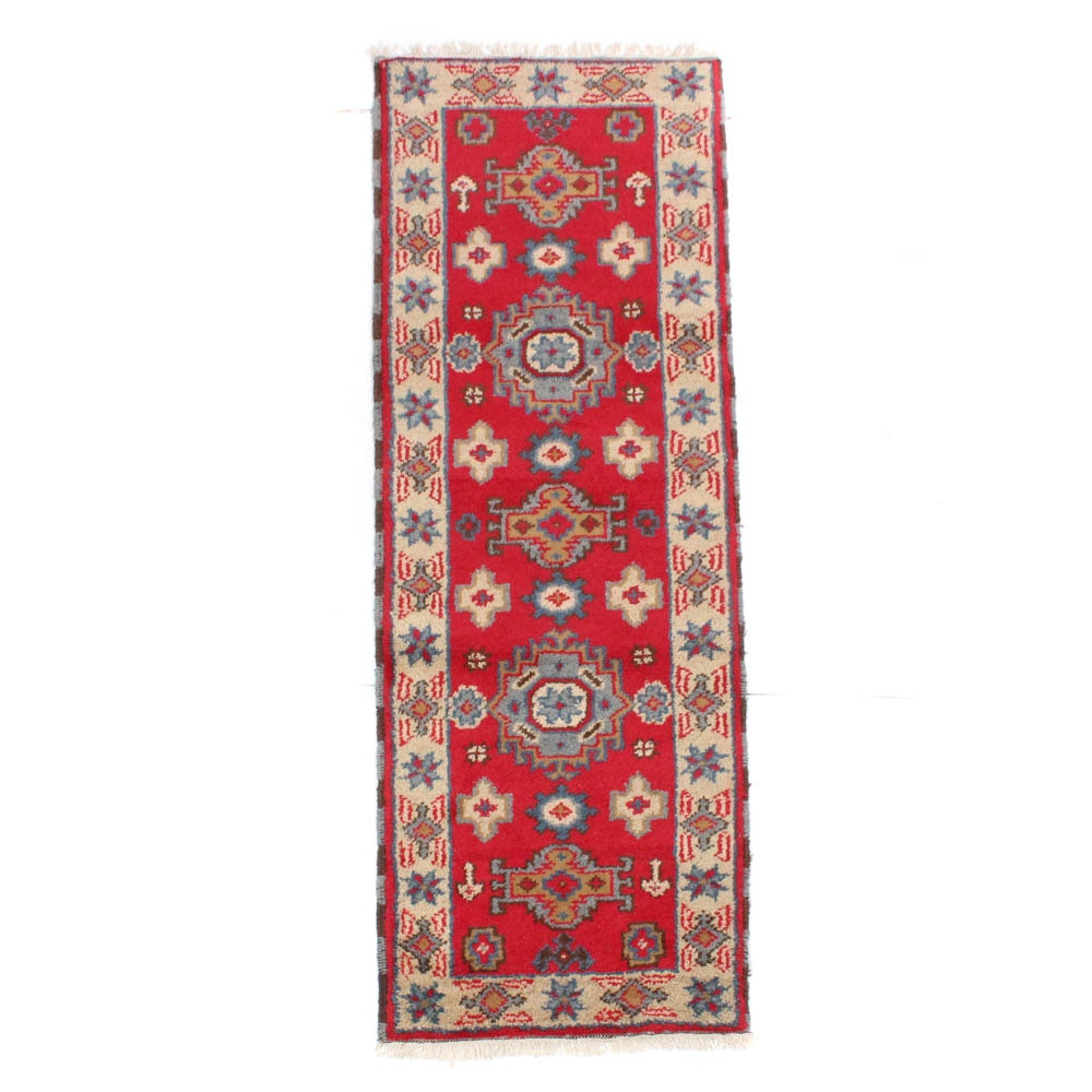 2'3 x 6'10 Hand-Knotted Indo-Caucasian Kazak Carpet Runner