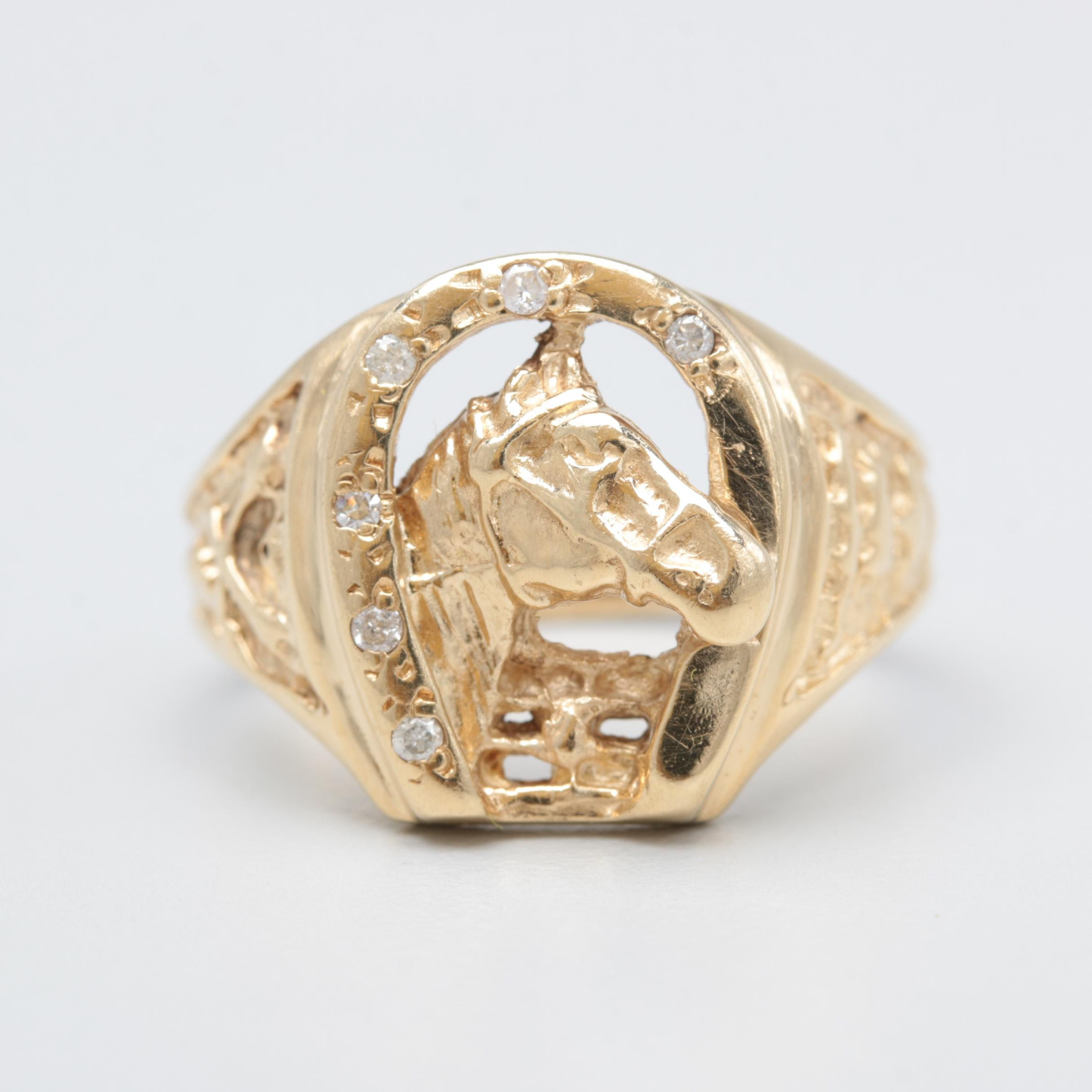 14K Yellow Gold Horse in Horse Shoe Diamond Ring
