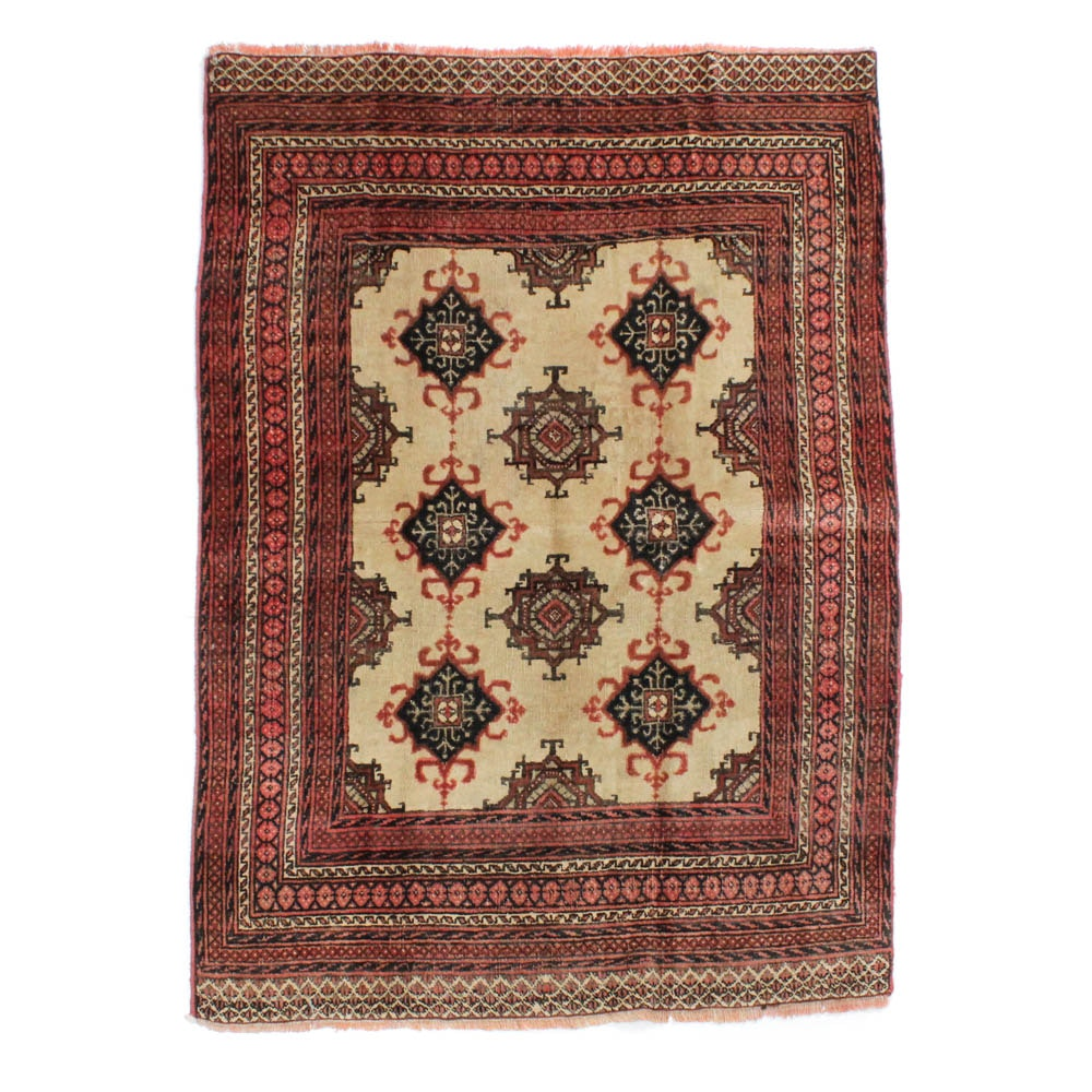 Hand-Knotted Persian Turkoman Rug