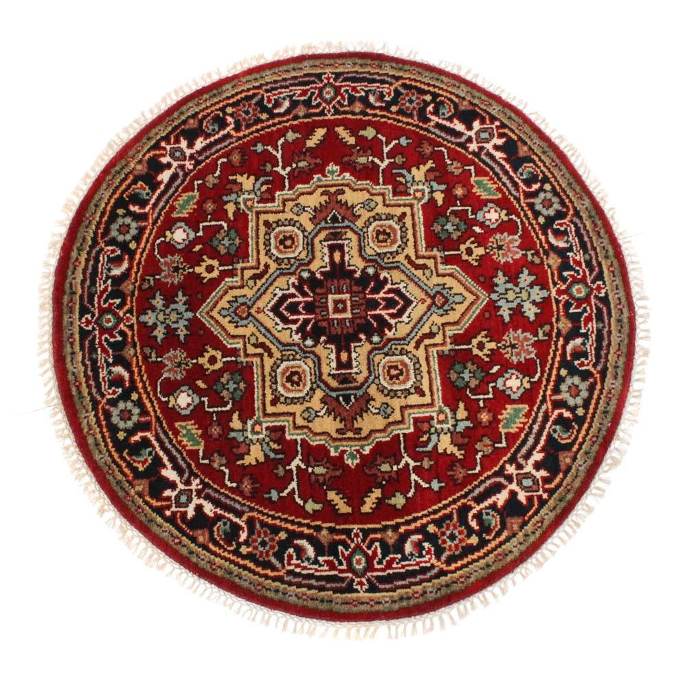 4'2 Hand-Knotted Indo-Persian Heriz Serapi Round Rug