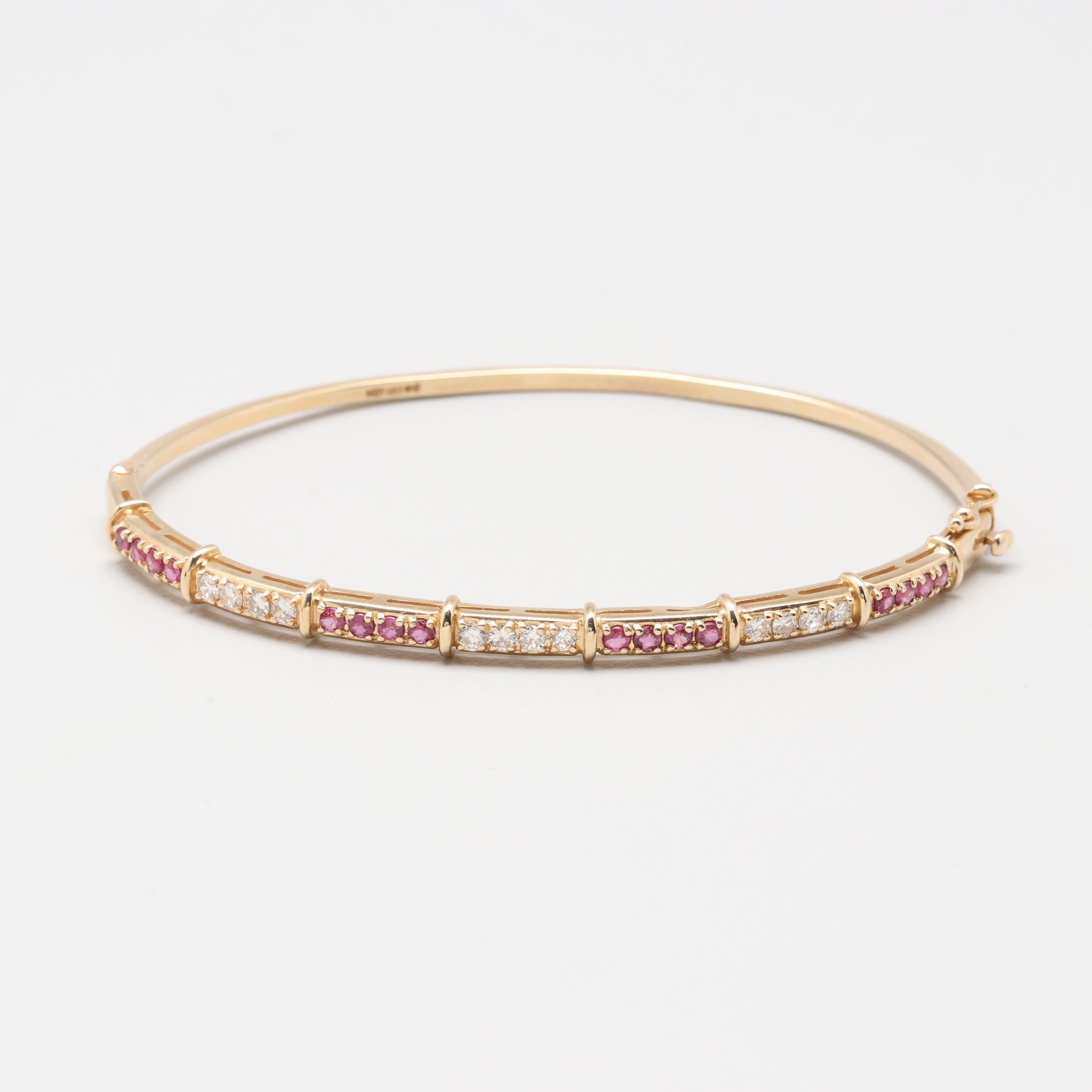 14K Yellow Gold Ruby and Diamond Hinged Bangle Bracelet
