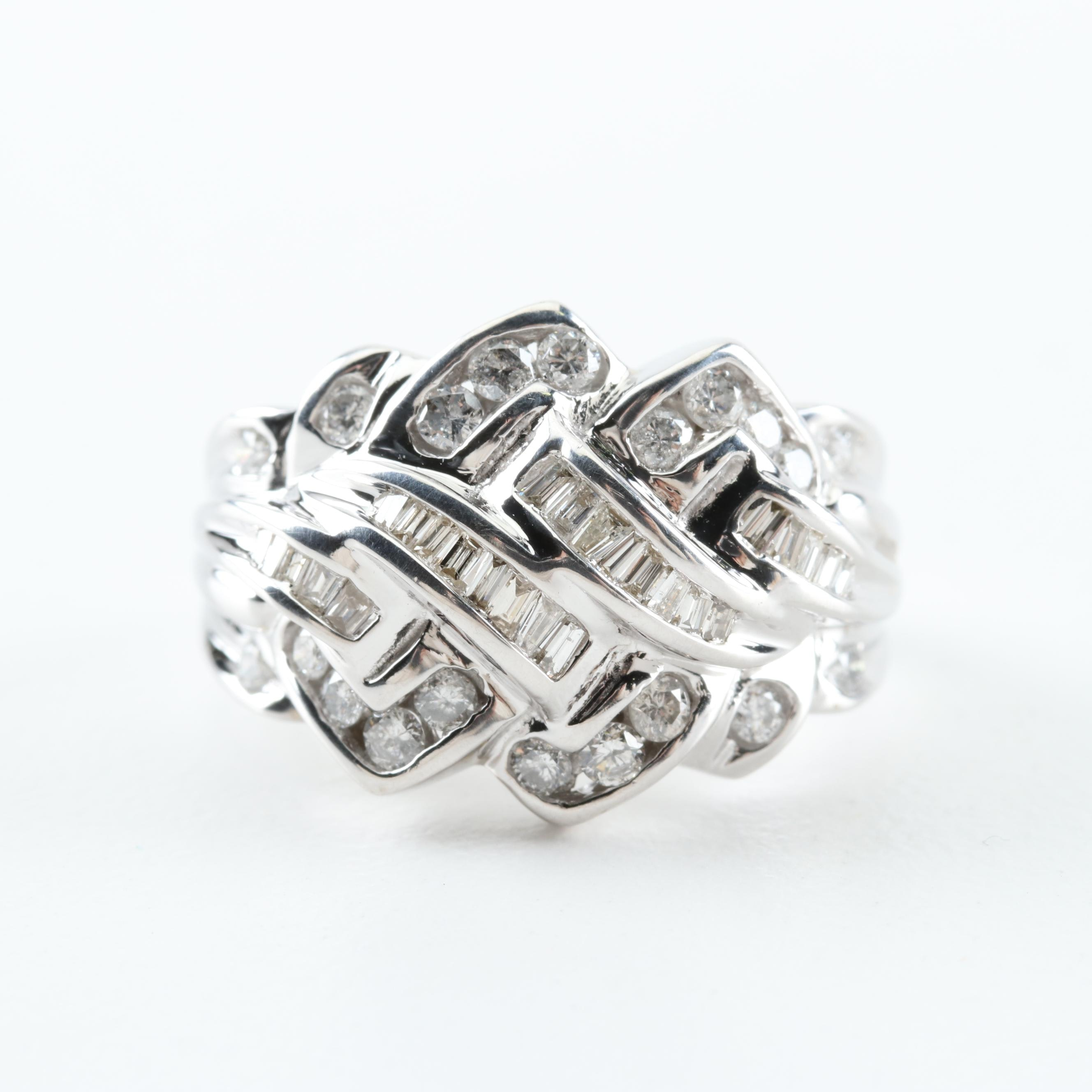 10K White Gold and 1.08 CTW Diamond Ring
