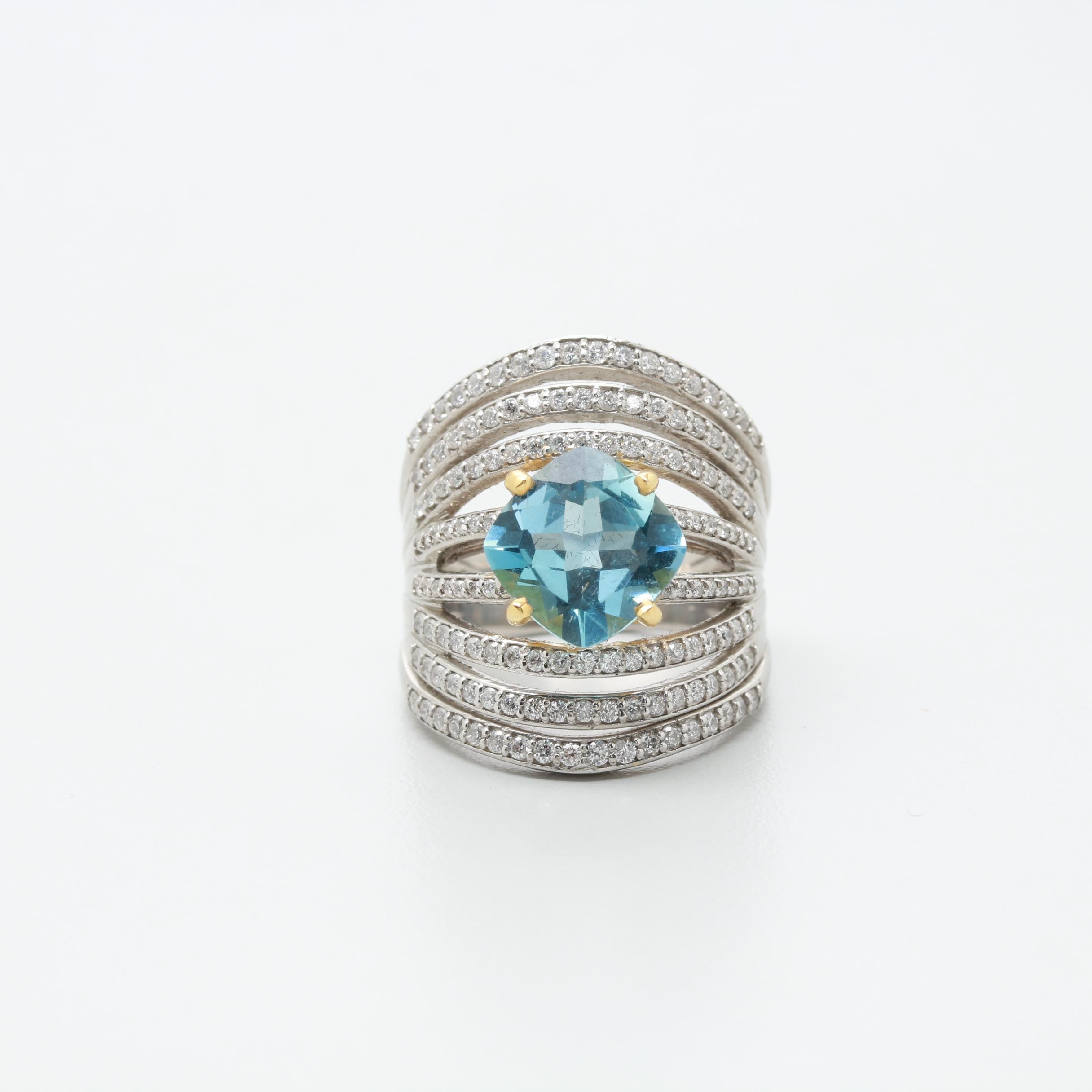 Platinum 2.40 CT Aquamarine and 1.05 CTW Diamond Ring with 14K Accent