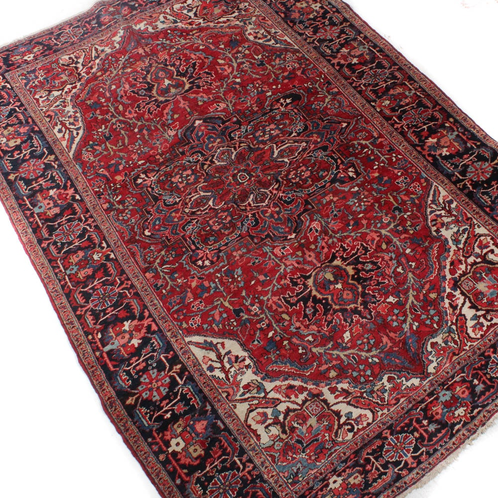 Hand-Knotted Persian Heriz Room Size Rug, circa 1940