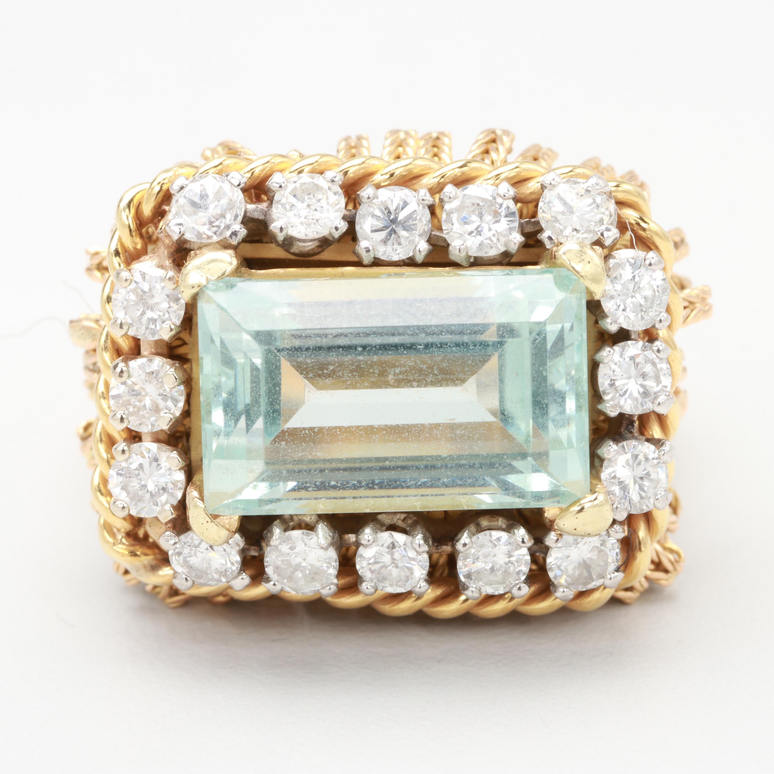 18K Gold & Platinum 6.24 CT Aquamarine, Diamond Ring with Foxtail Tassel Accents