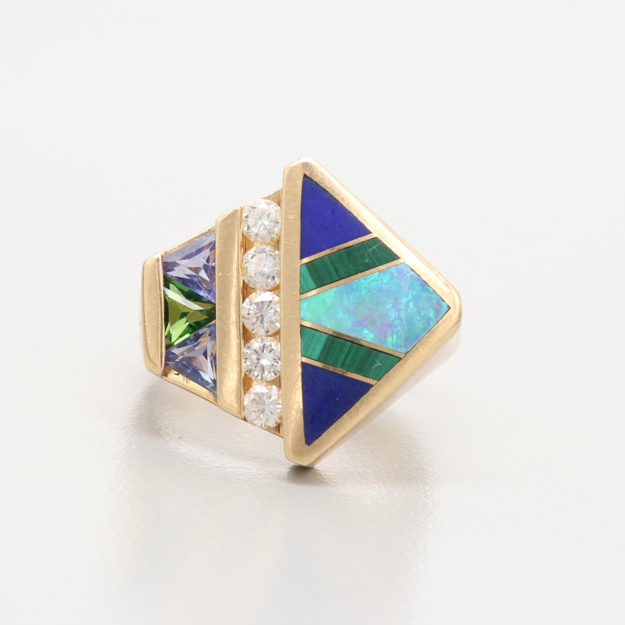 14K Yellow Gold Tanzanite, Diamond and Gemstone Inlay Ring