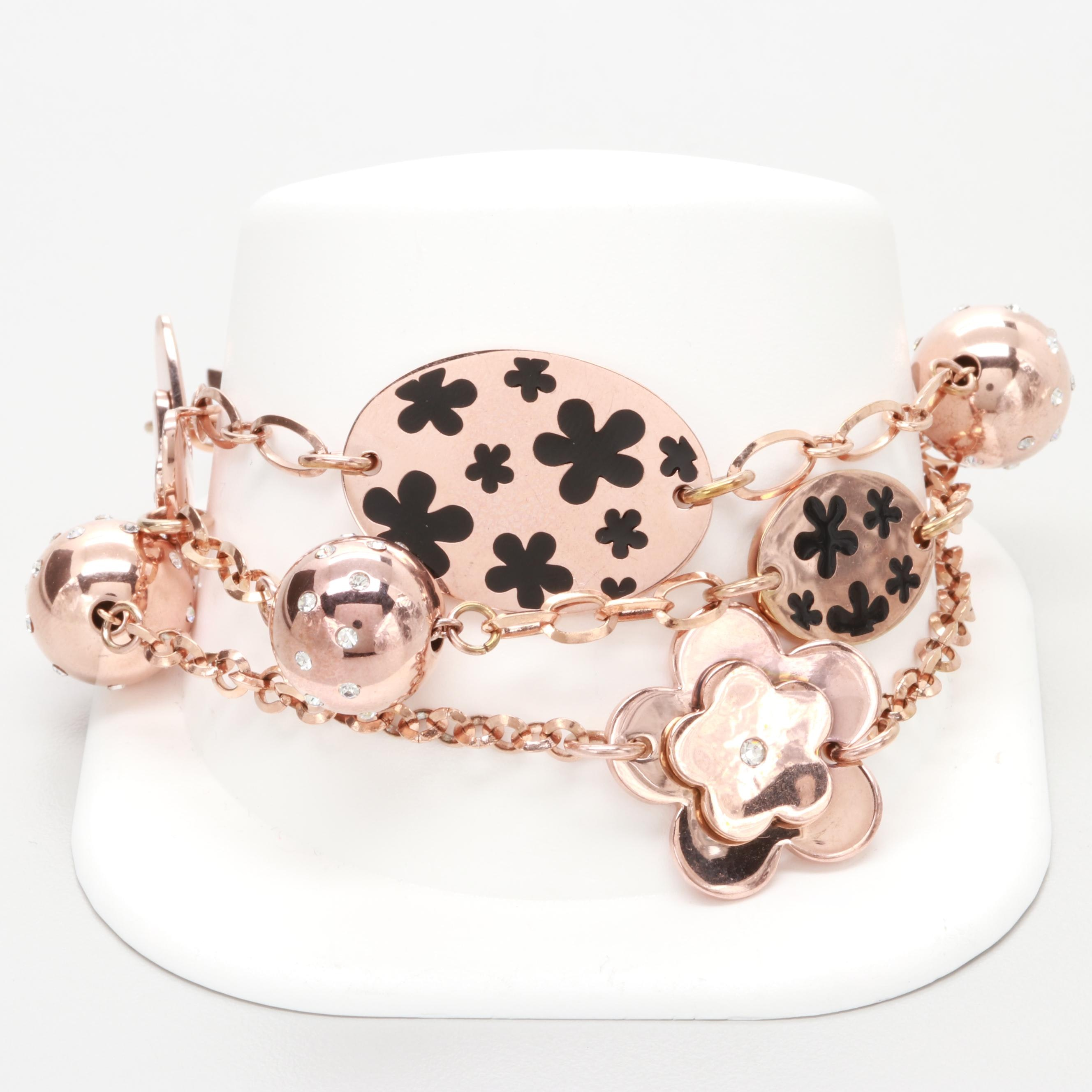 Folli Follie Rose Tone Triple Strand Enamel and Glass Charm Bracelet