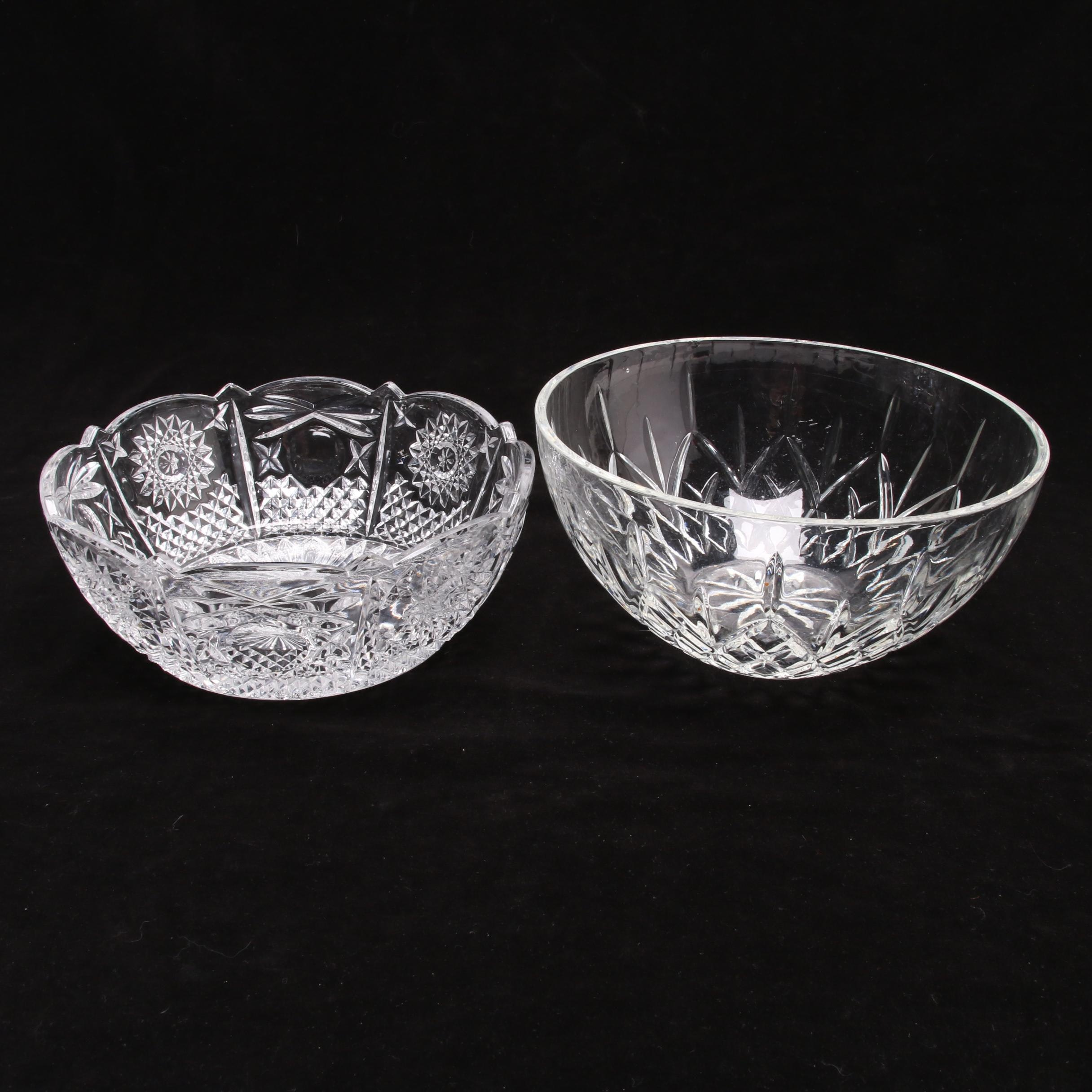 Two Molded Crystal Bowls