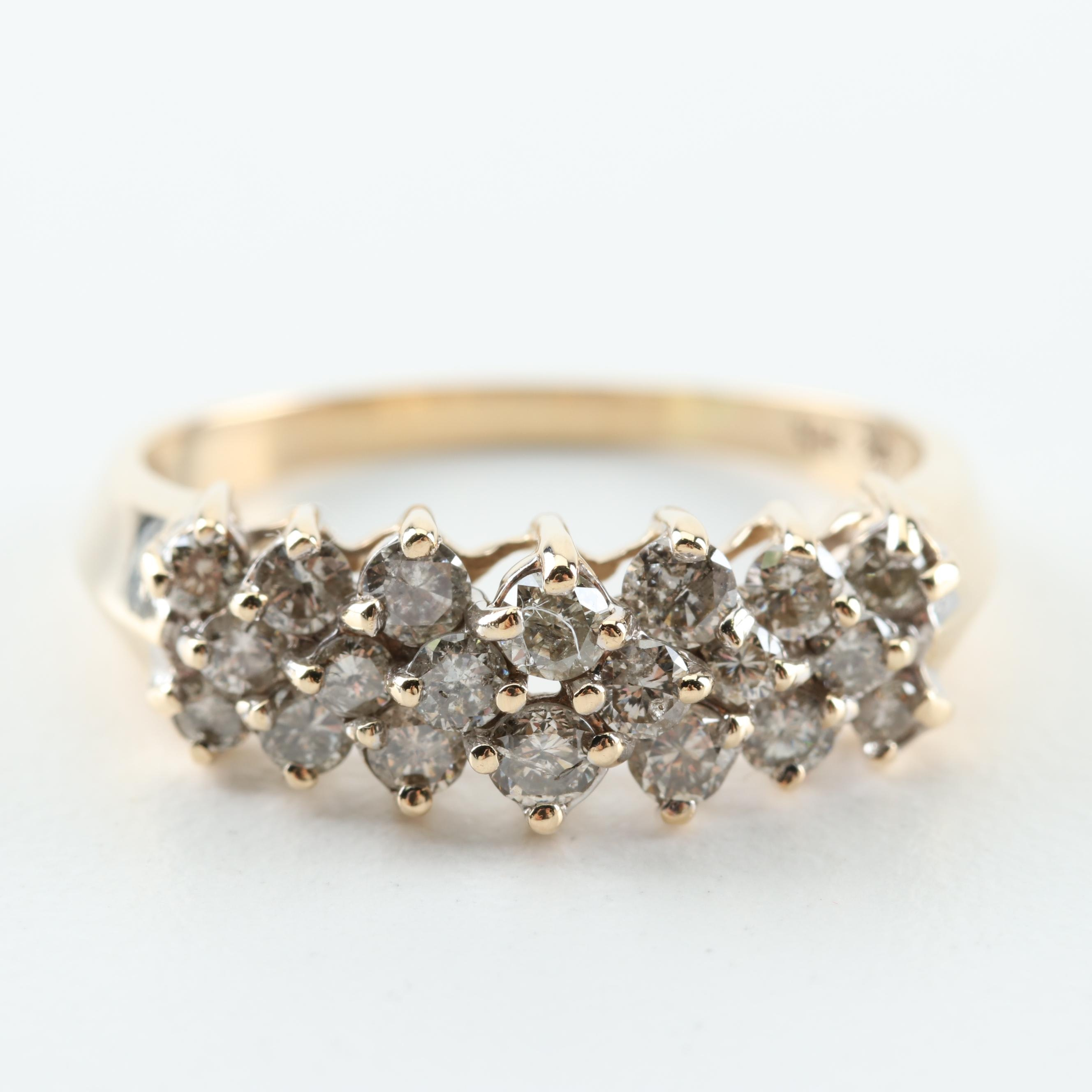 10K Yellow Gold and 1.02 CTW Diamond Ring