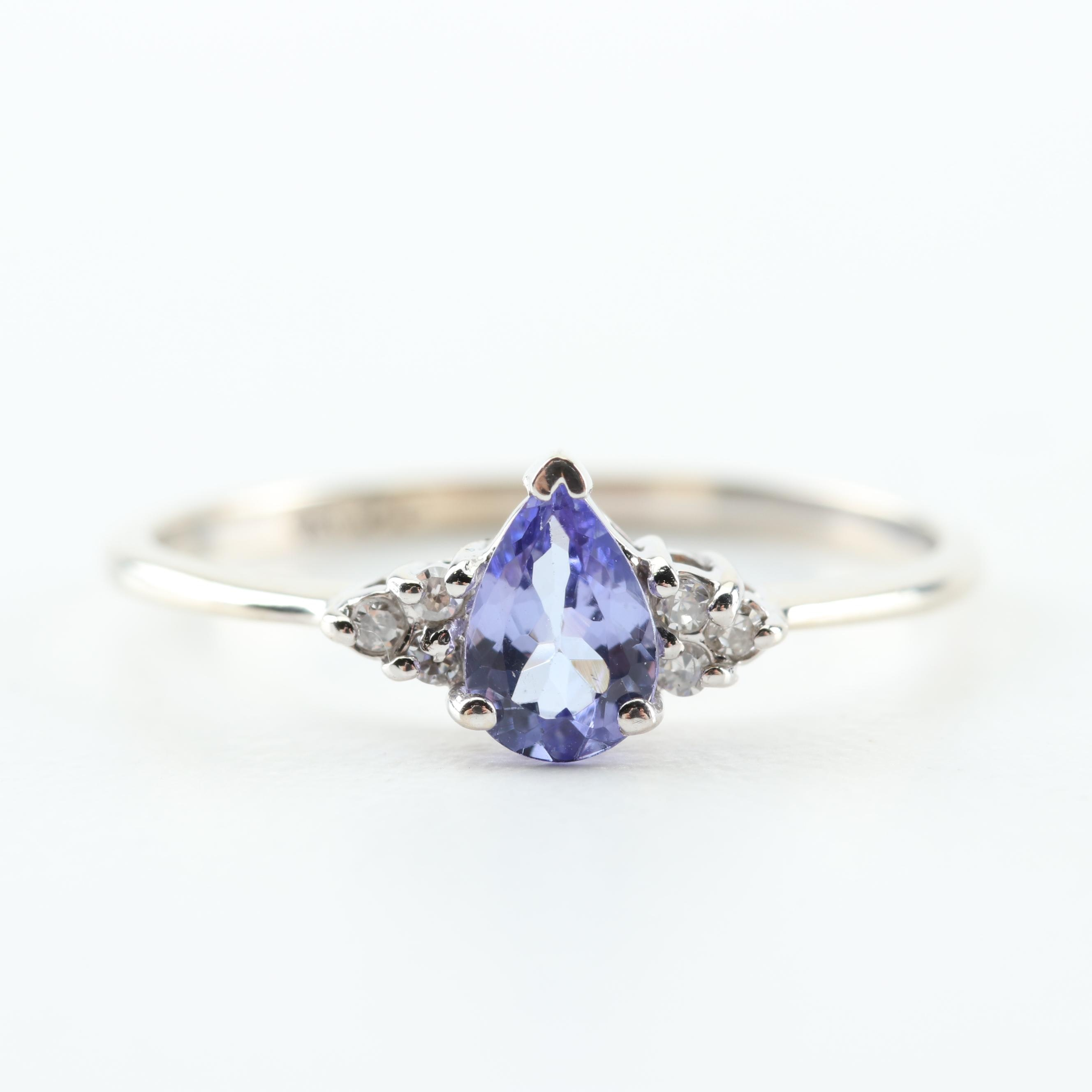 10K White Gold, Tanzanite, and Diamond Ring