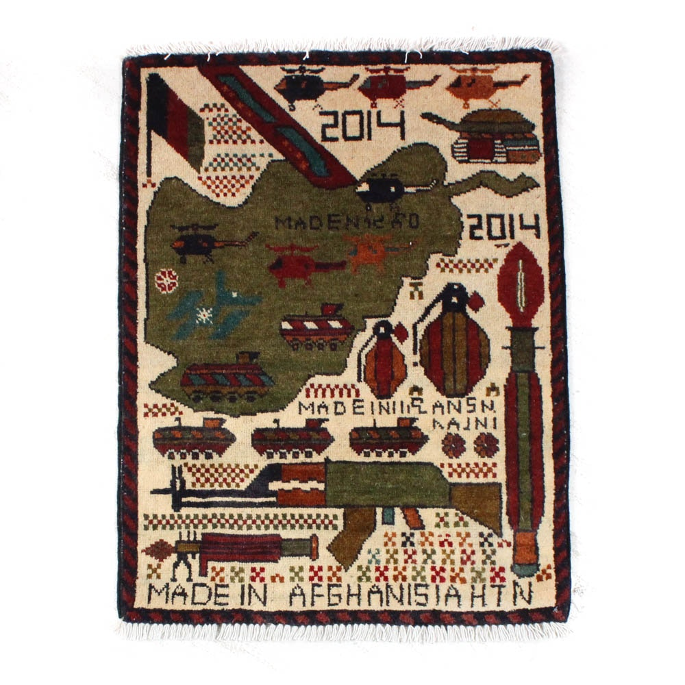 2'0 x 2'9 Hand-Knotted Afghani Pictorial War Rug