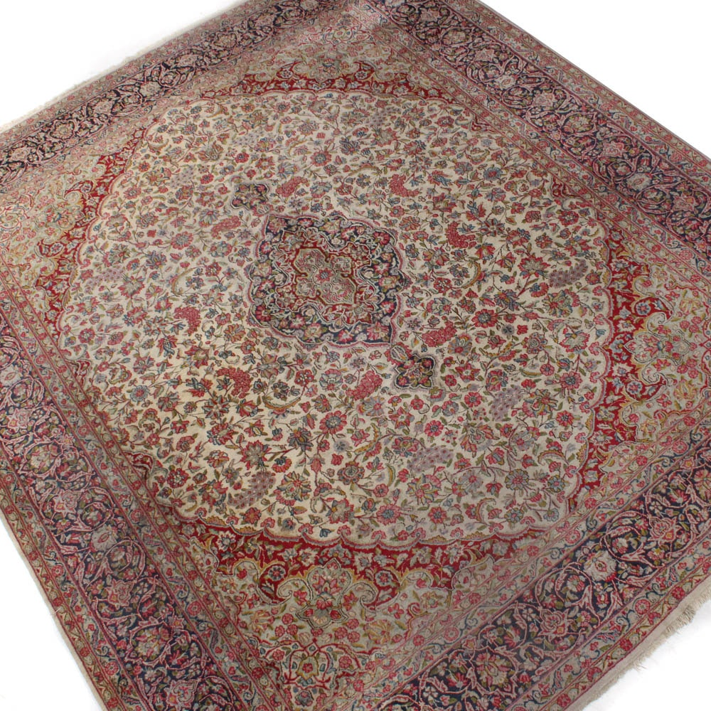 Hand-Knotted Persian Lavar Kirman Room Size Rug