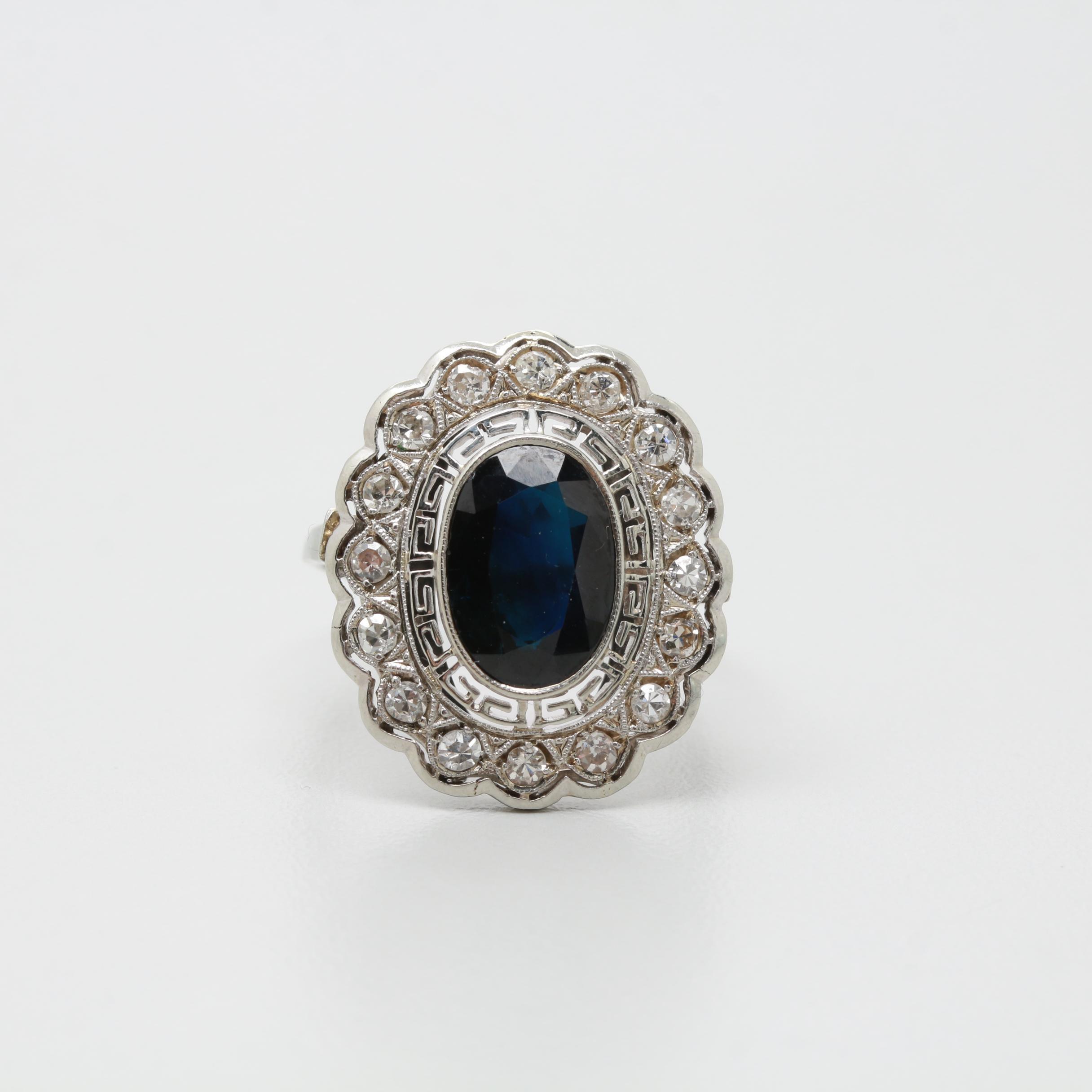 18K White Gold 2.91 CT Sapphire and Diamond Ring