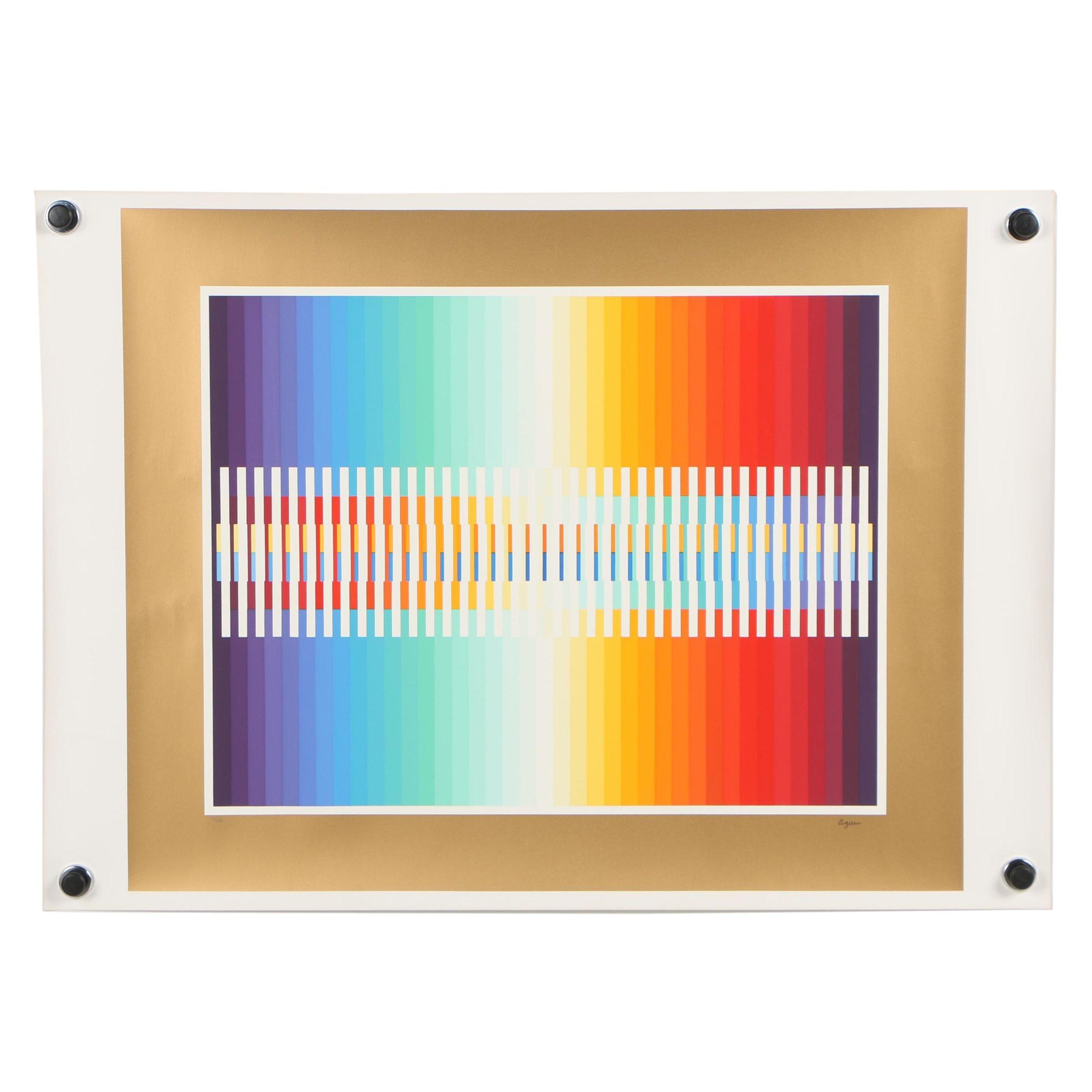 "Yaakov Agam Serigraph ""Integrated Rainbow"" Gold"