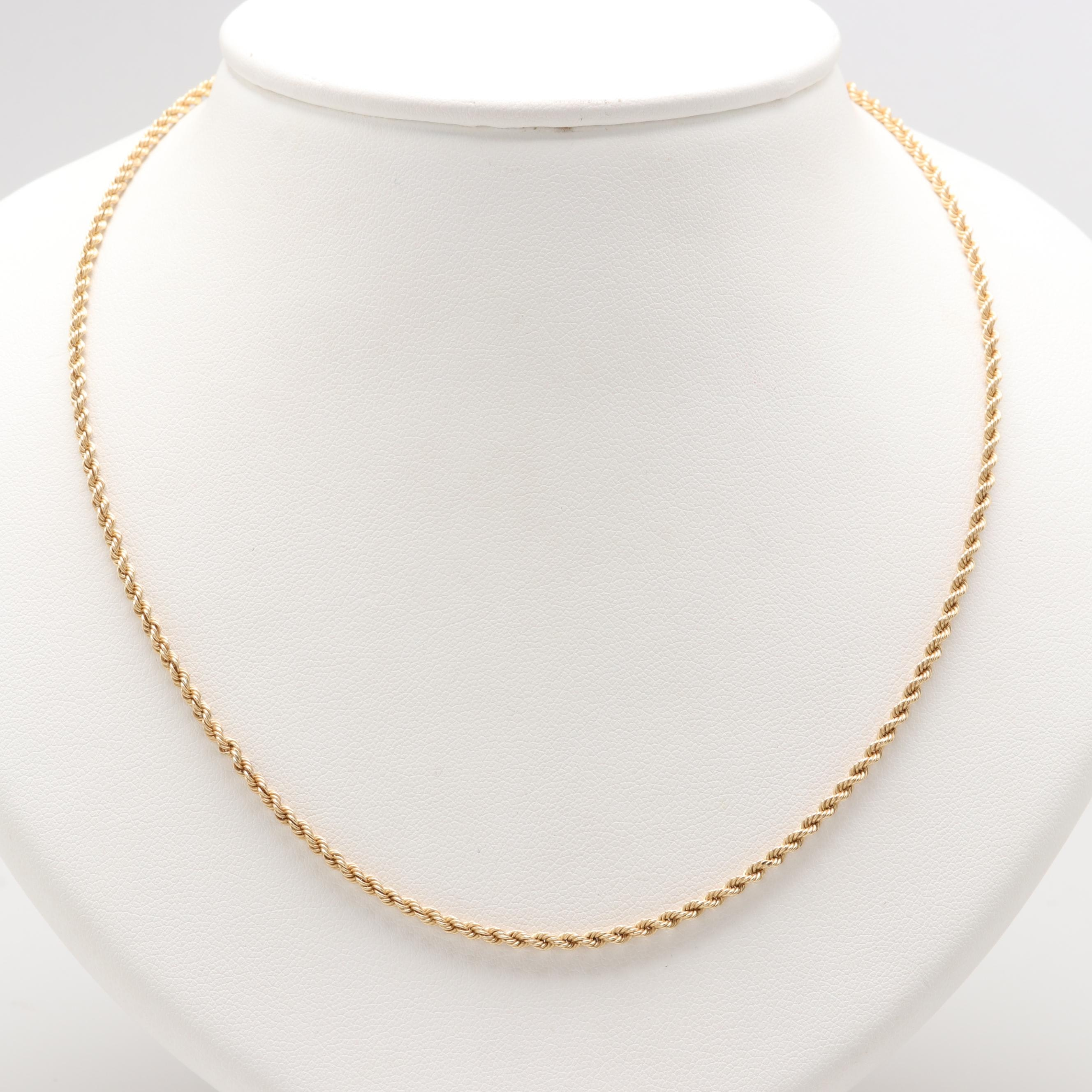 14K Yellow Gold Rope Twist Necklace