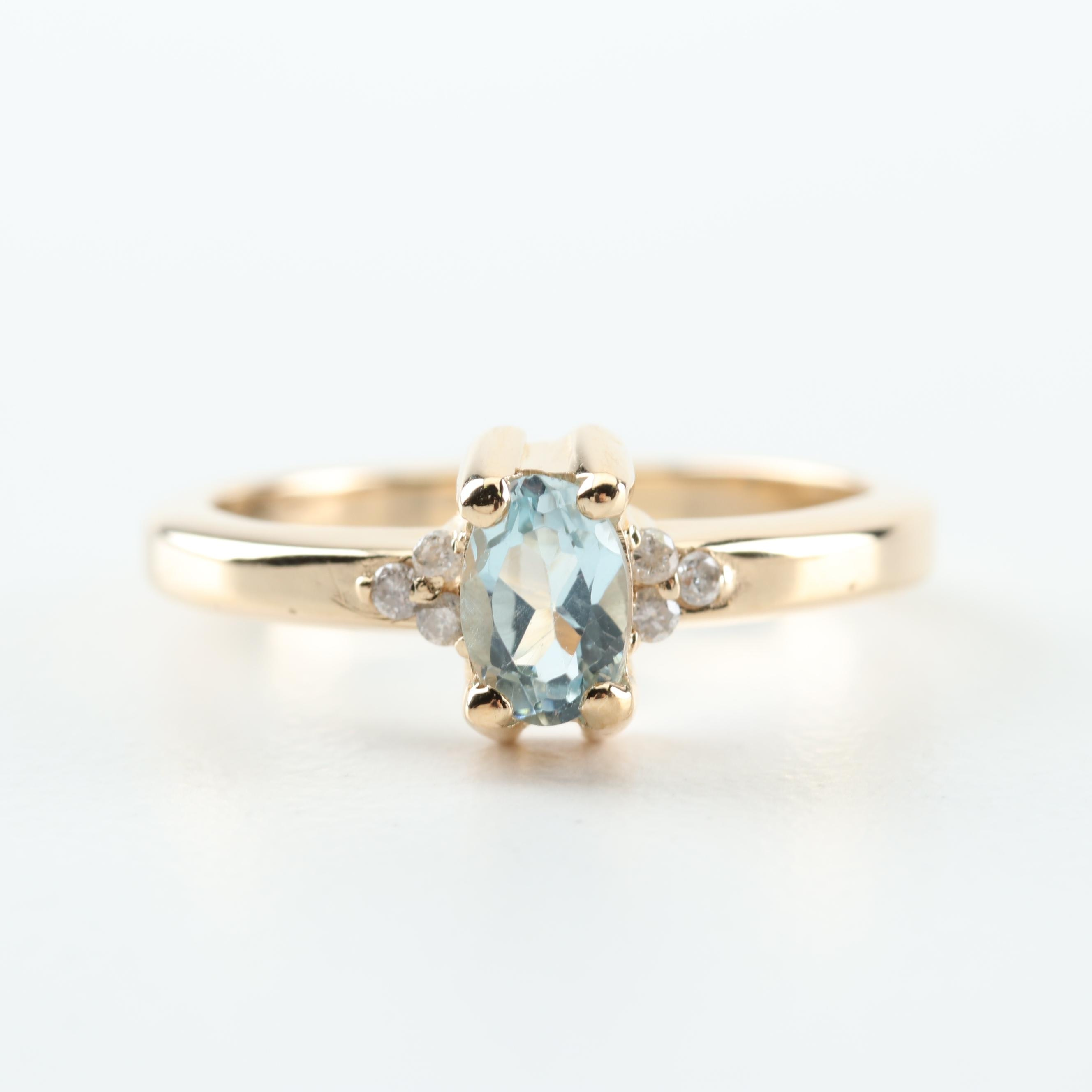 14K Yellow Gold, Blue Topaz, and Diamond Ring