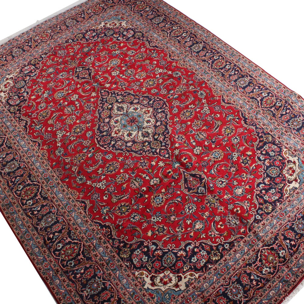 Hand-Knotted Persian Kashan Room Size Rug, circa 1970