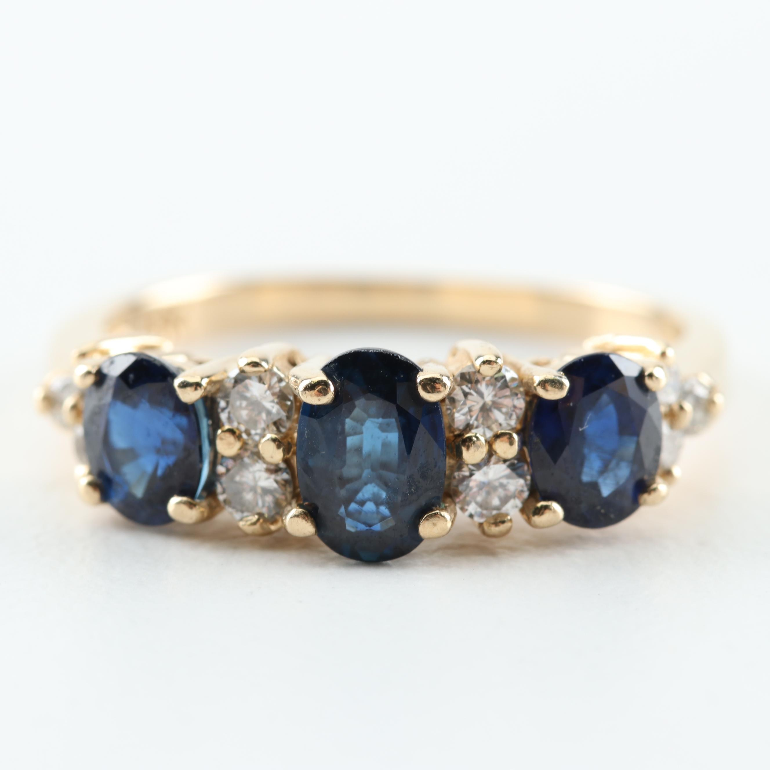 14K Yellow Gold, 1.25 CTW Sapphire, and Diamond Ring