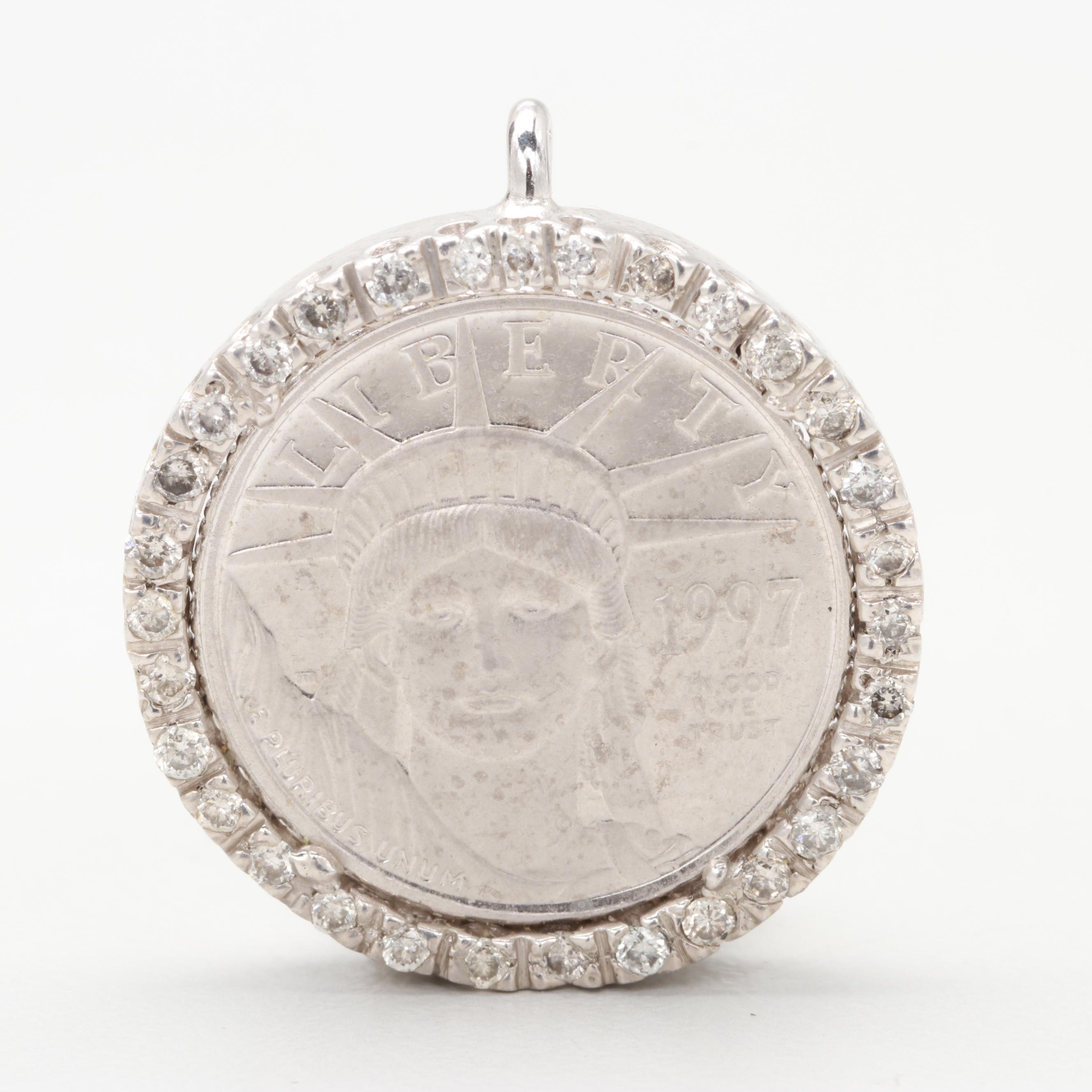 14K White Gold Diamond Pendant with a 1997-W $10 Platinum Eagle Bullion Coin