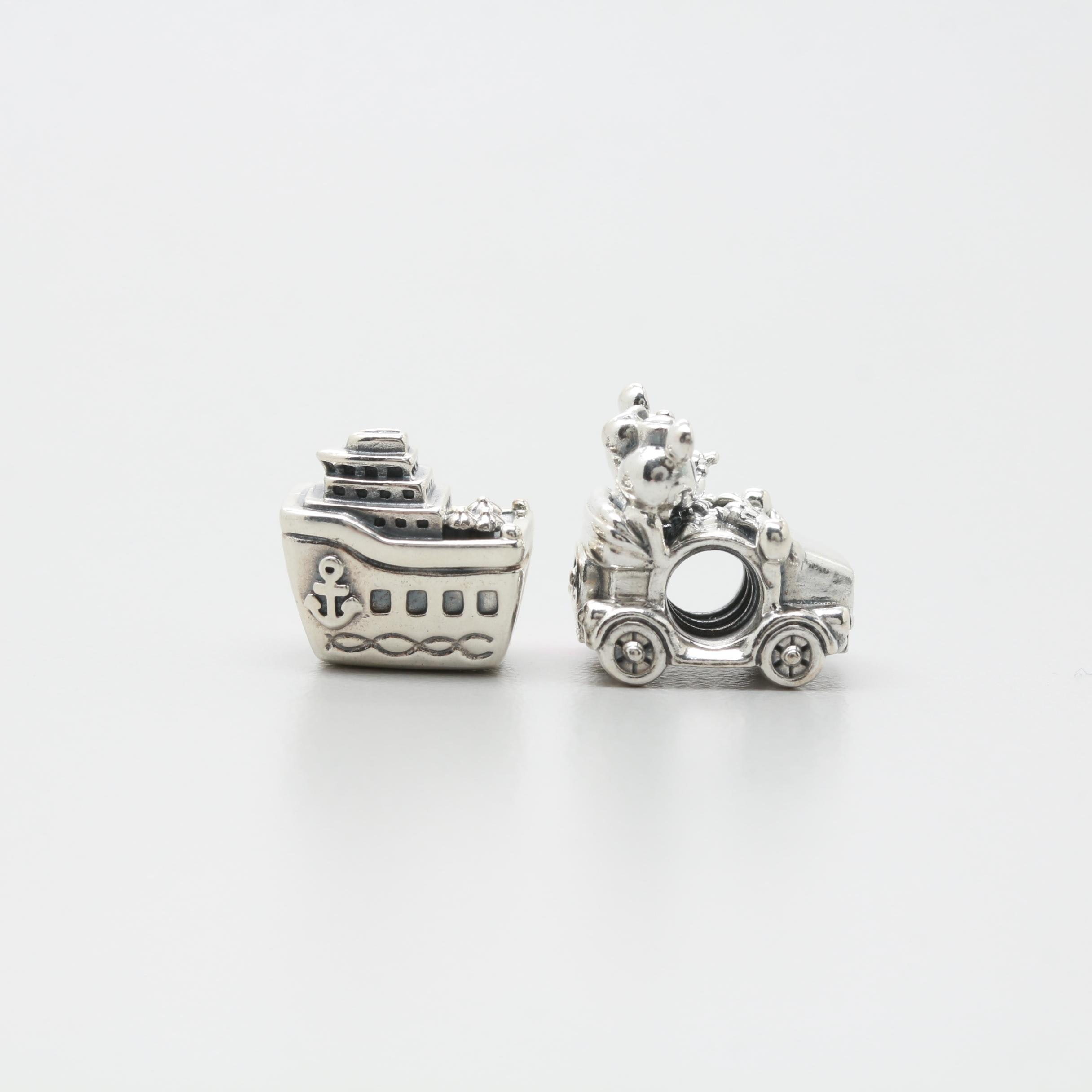 Pandora Sterling Sterling Silver Disney Cruise Chip and Mickey Mouse Charms