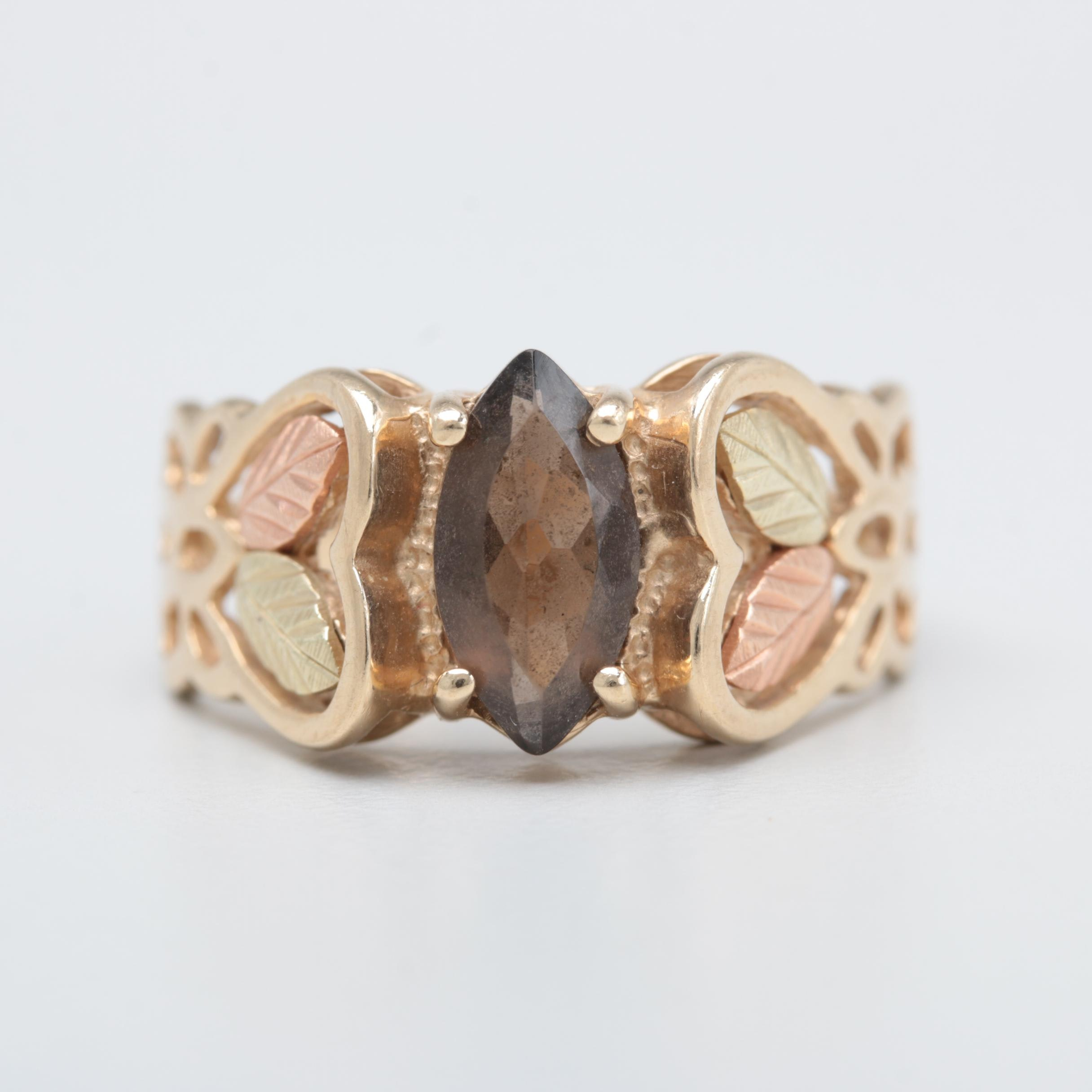 10K Yellow Gold Smoky Quartz Ring with Green and Rose Gold Accents