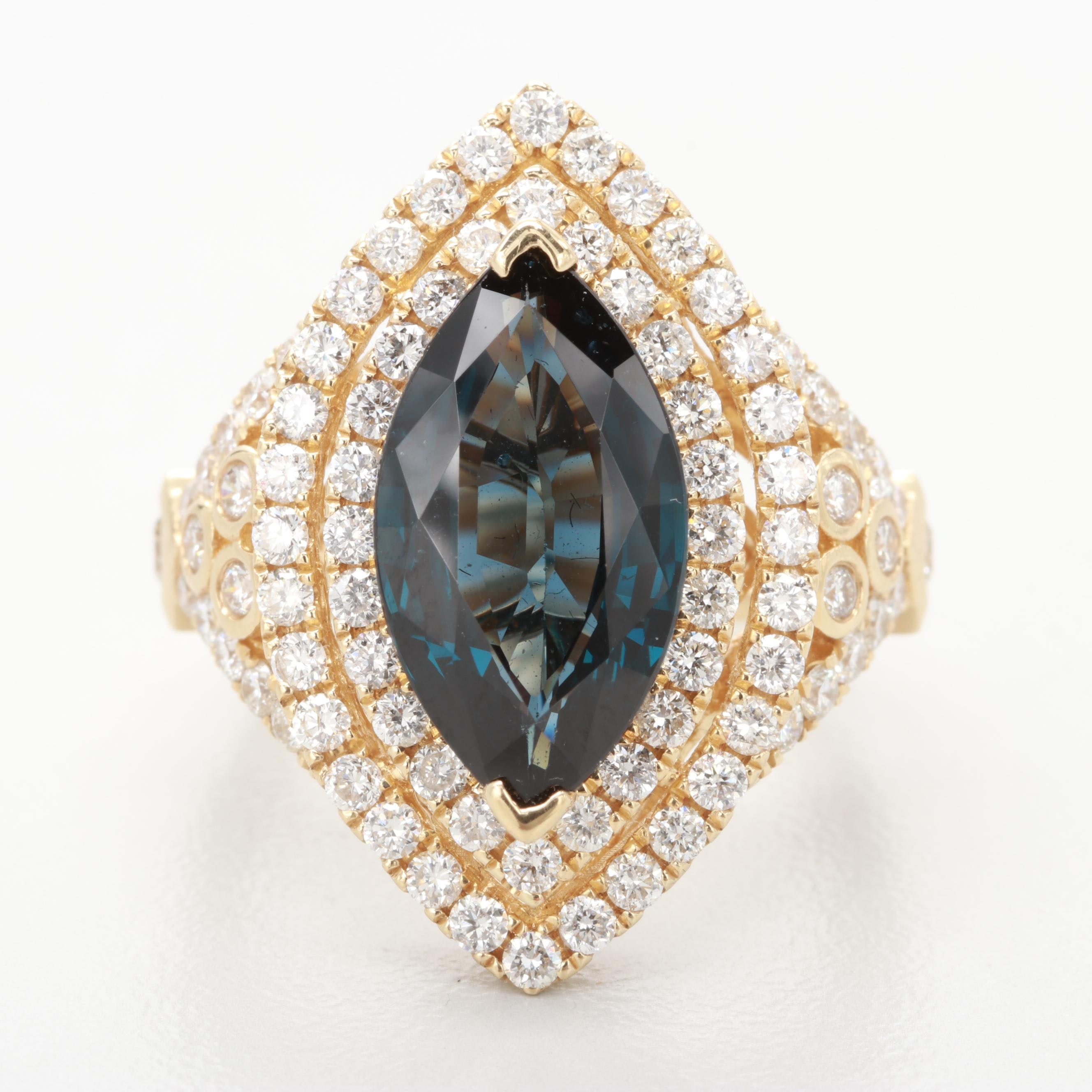 14K Yellow Gold 3.51 CT Spinel and 1.52 CTW Diamond Ring