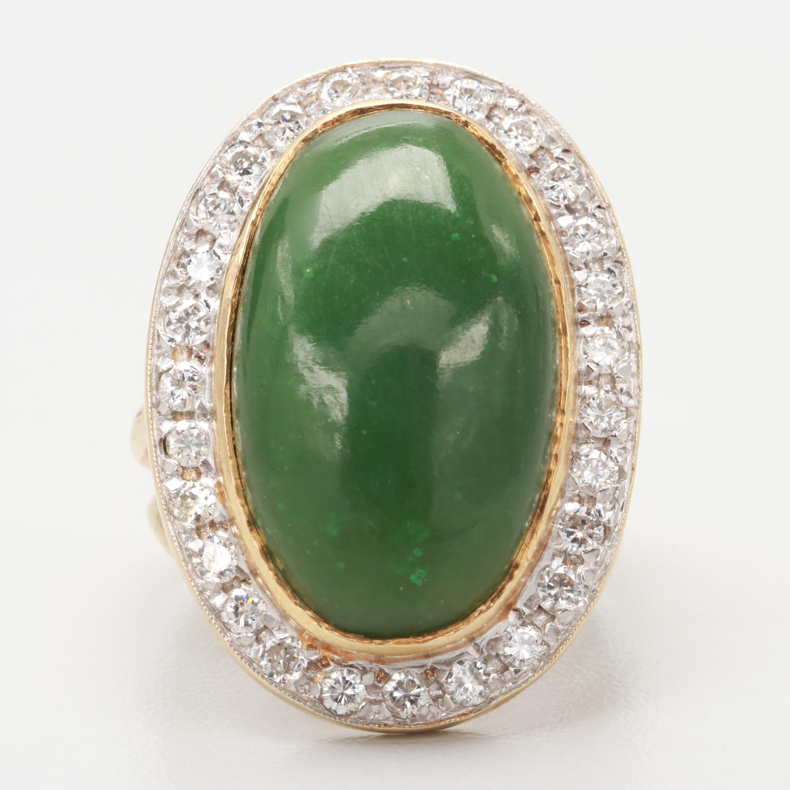 14K Yellow Gold Nephrite and 1.01 CTW Diamond Ring
