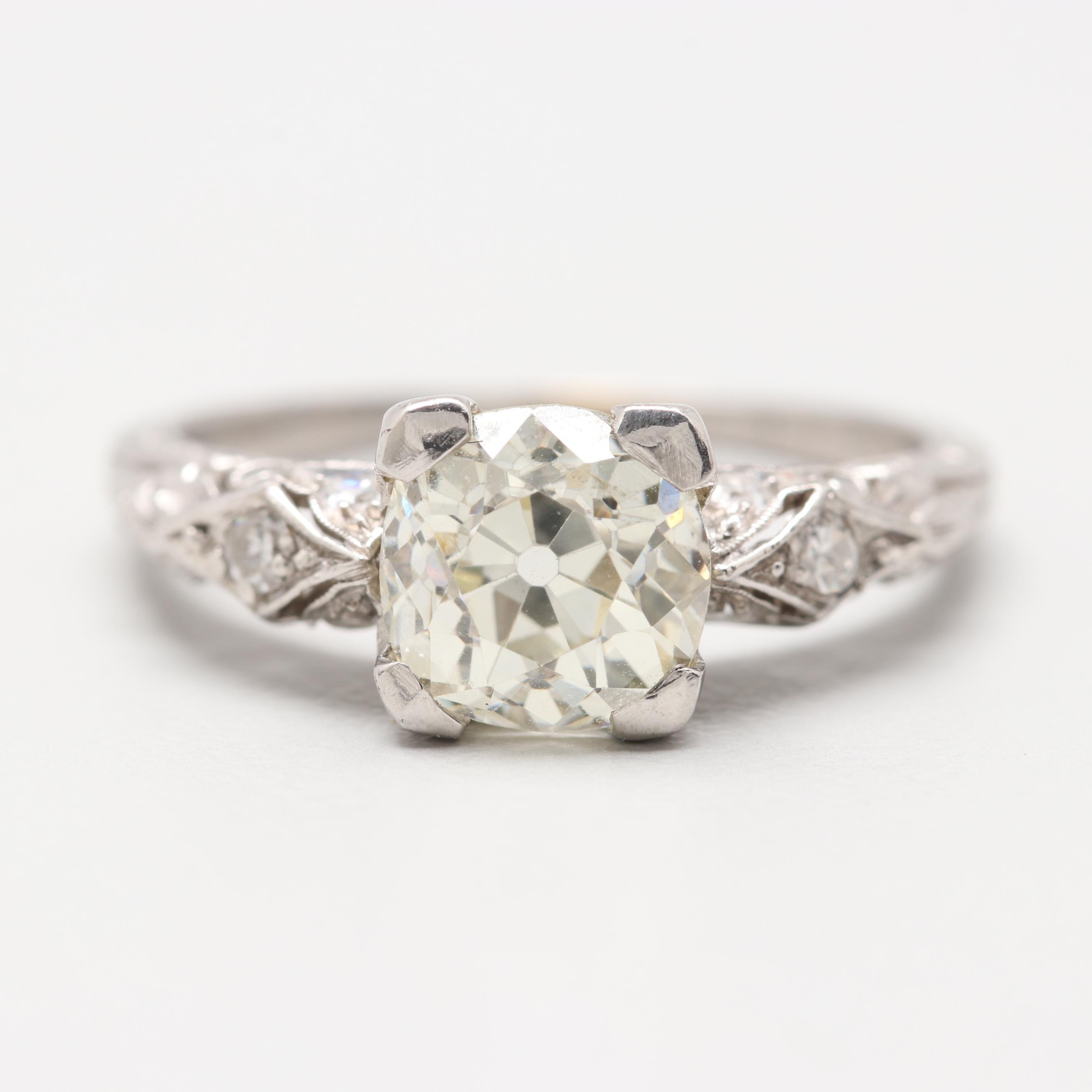 Art Deco Platinum 1.48 CTW Diamond Ring