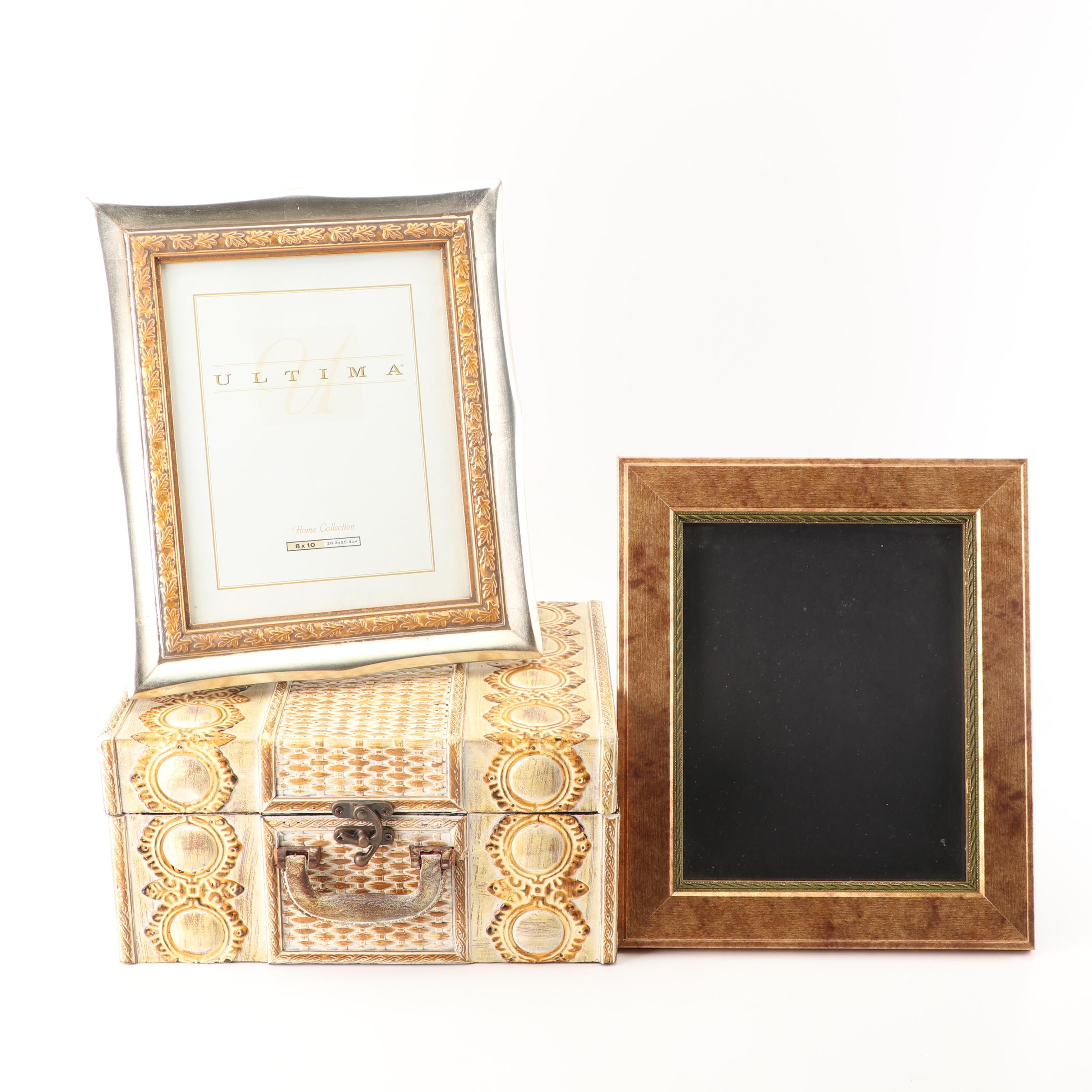 Decorative Box With Table Top Picture Frames Including Burnes Of