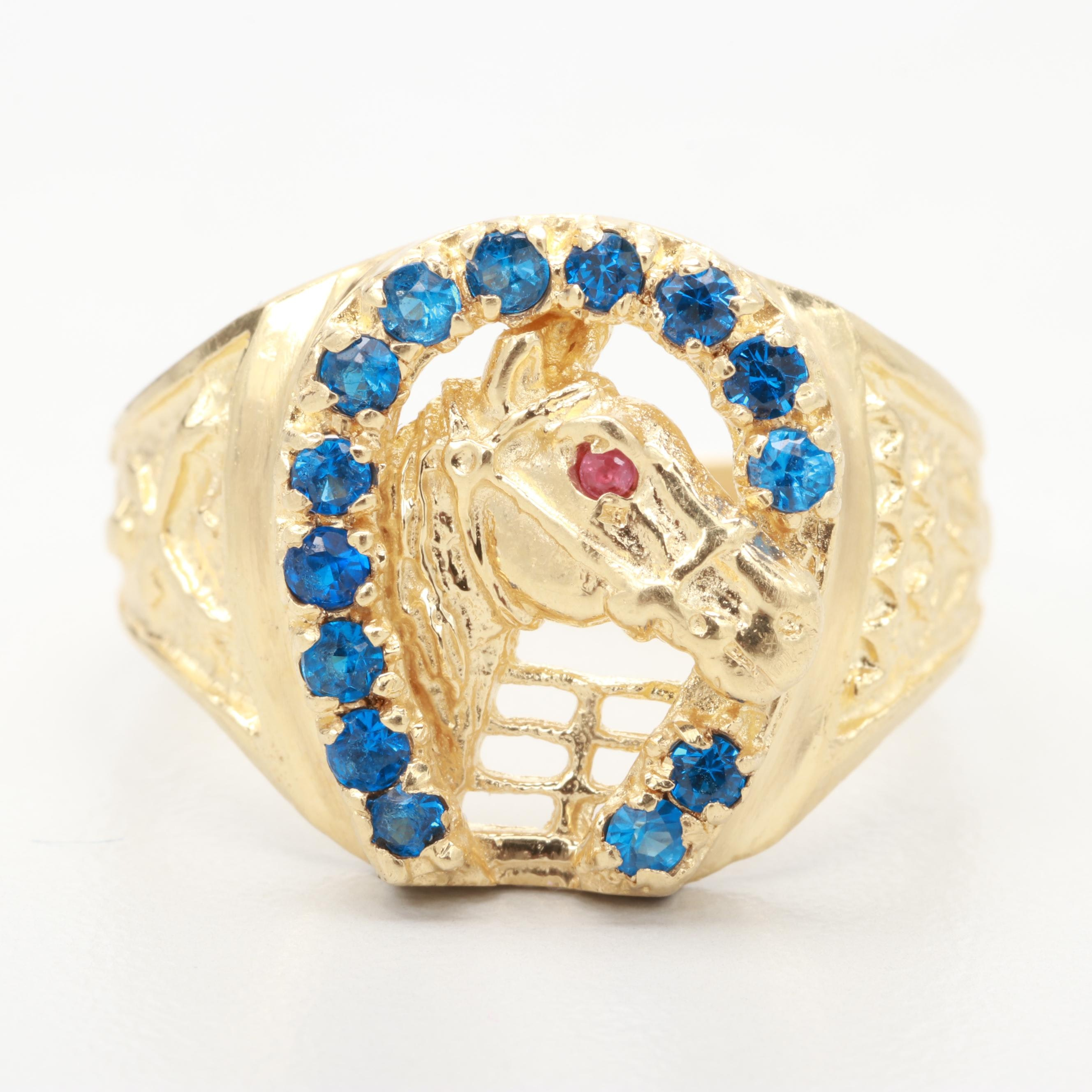 14K Yellow Gold Synthetic Spinel and Ruby Horse in Horse Shoe Ring