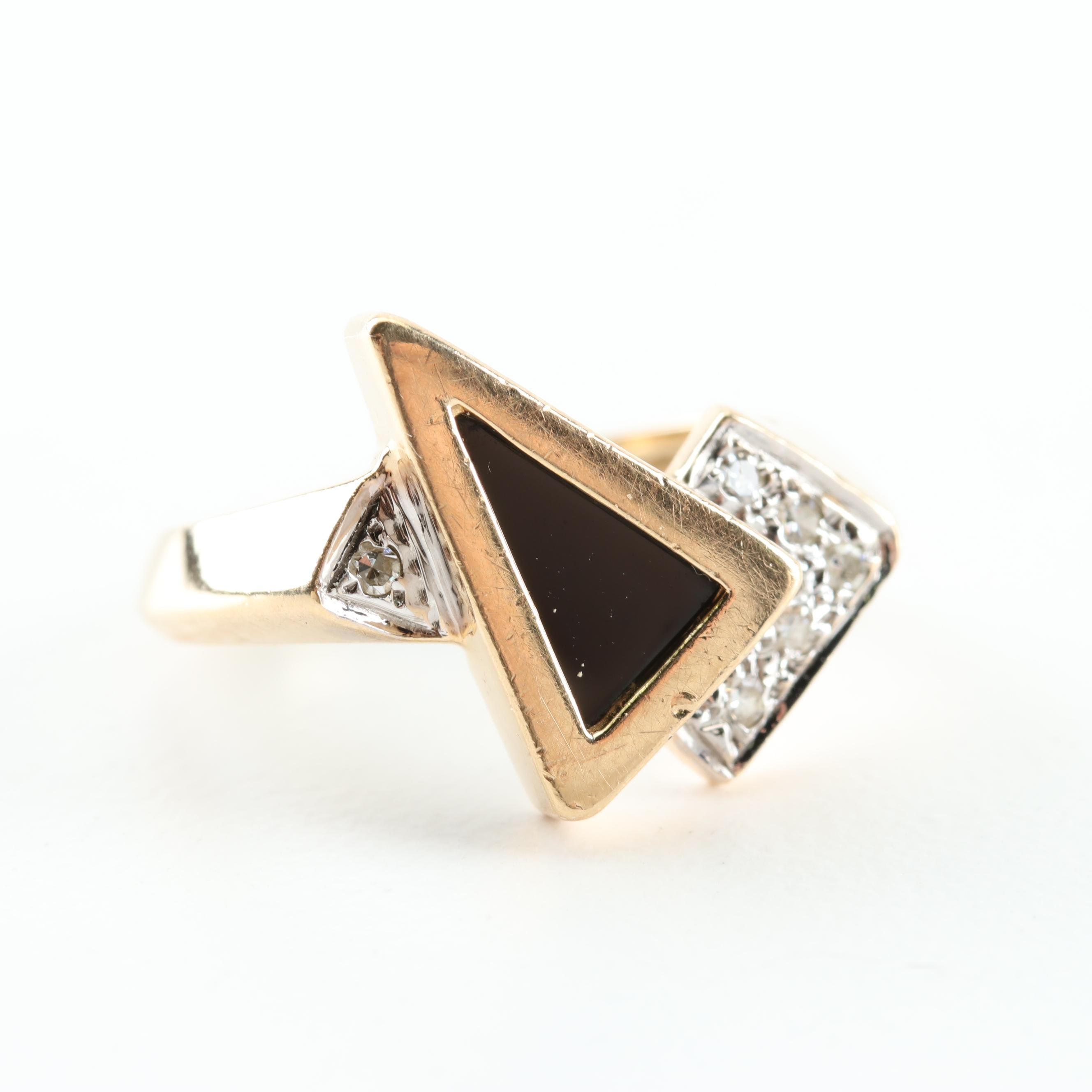 14K Yellow Gold, Black Onyx, and Diamond Ring