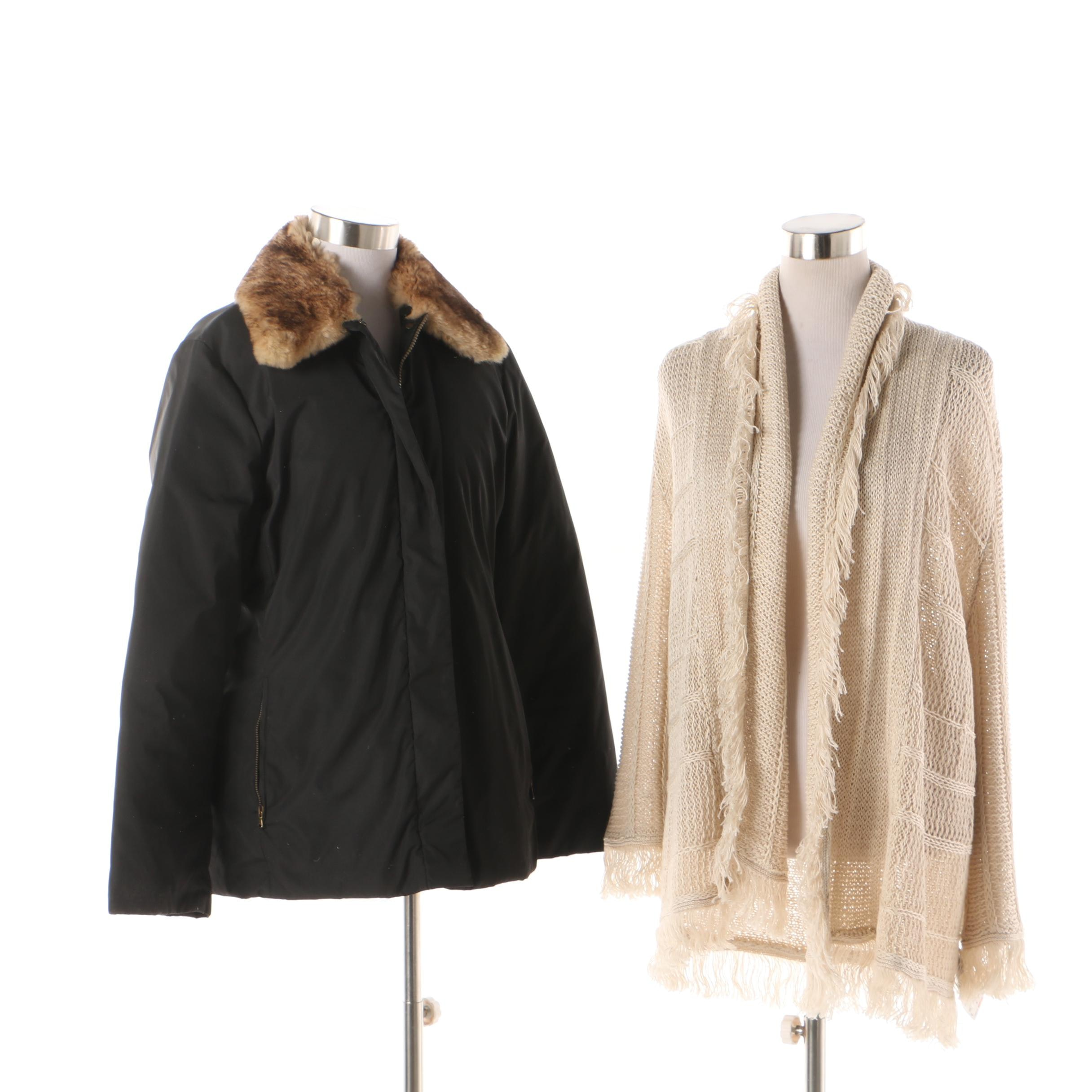 Women's Weekend Max Mara Rabbit Fur Collar Jacket and Ralph Lauren Knit Cardigan