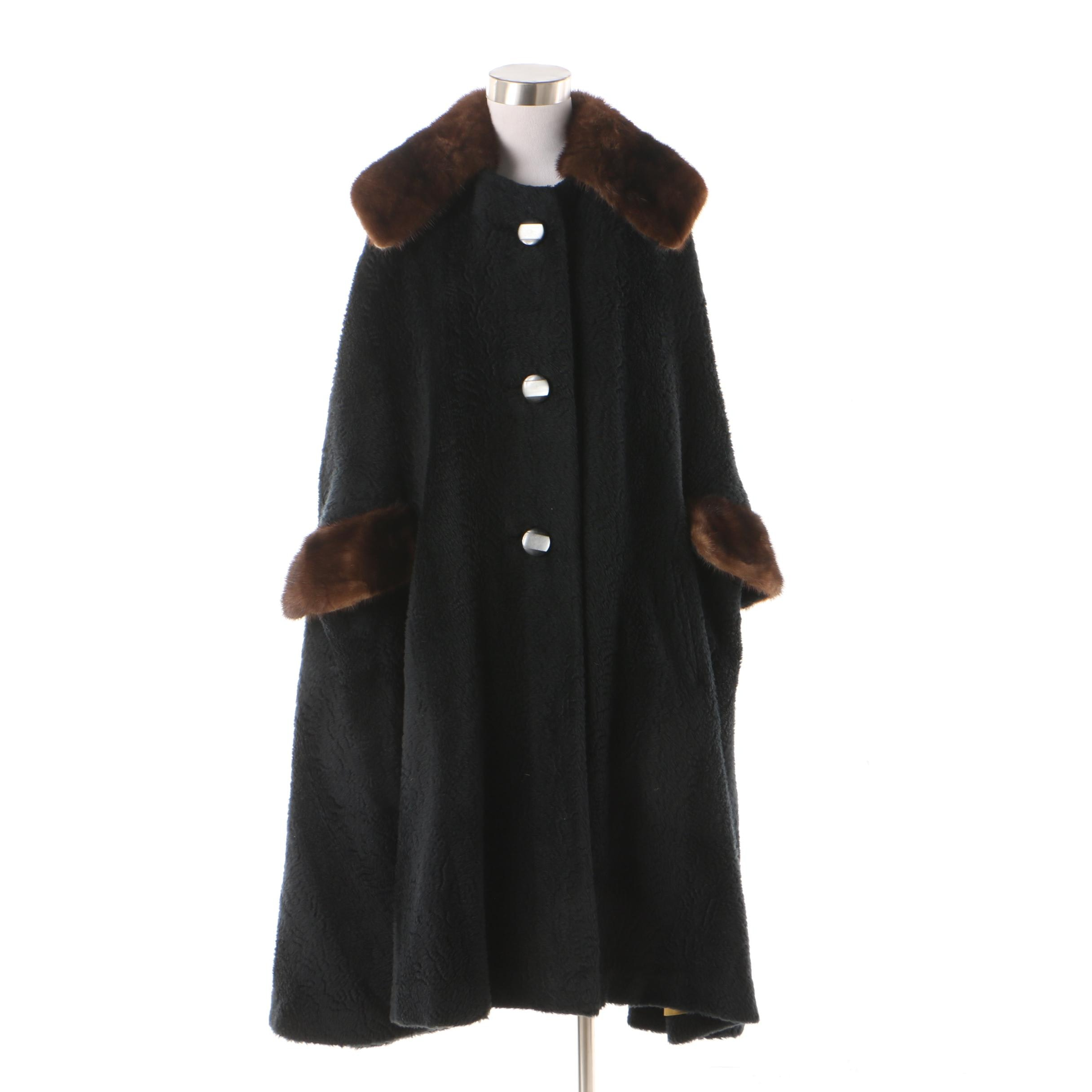 Women's Black Faux Fur Cape Coat with Mink Fur Collar and Trim