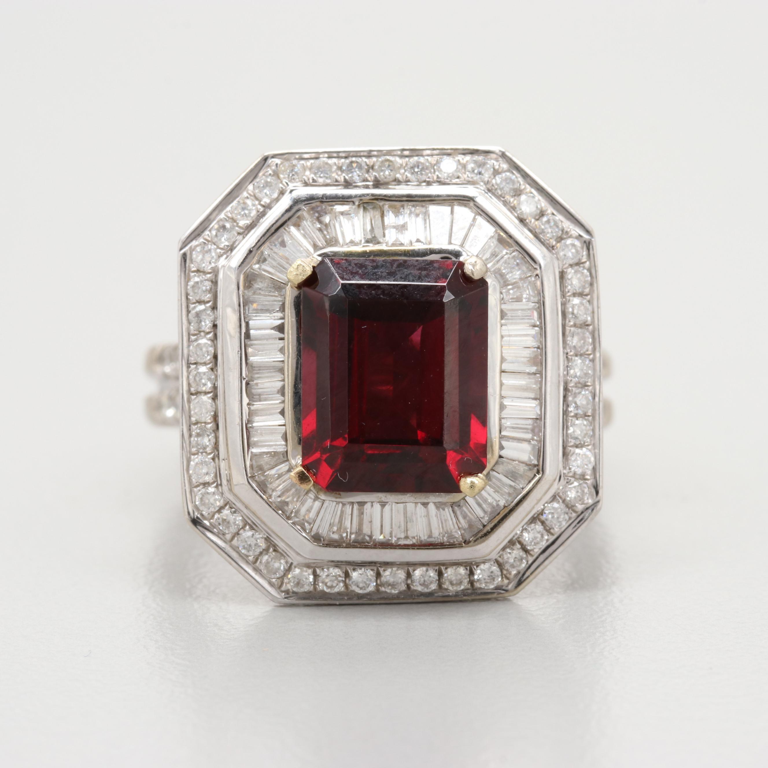 14K White Gold Garnet and 1.94 CTW Diamond Ring